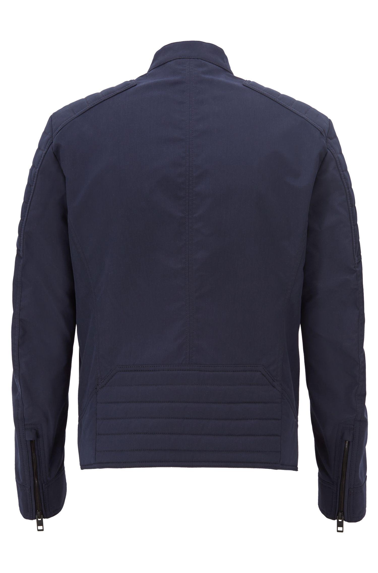 Regular-fit biker jacket in water-repellent peached fabric
