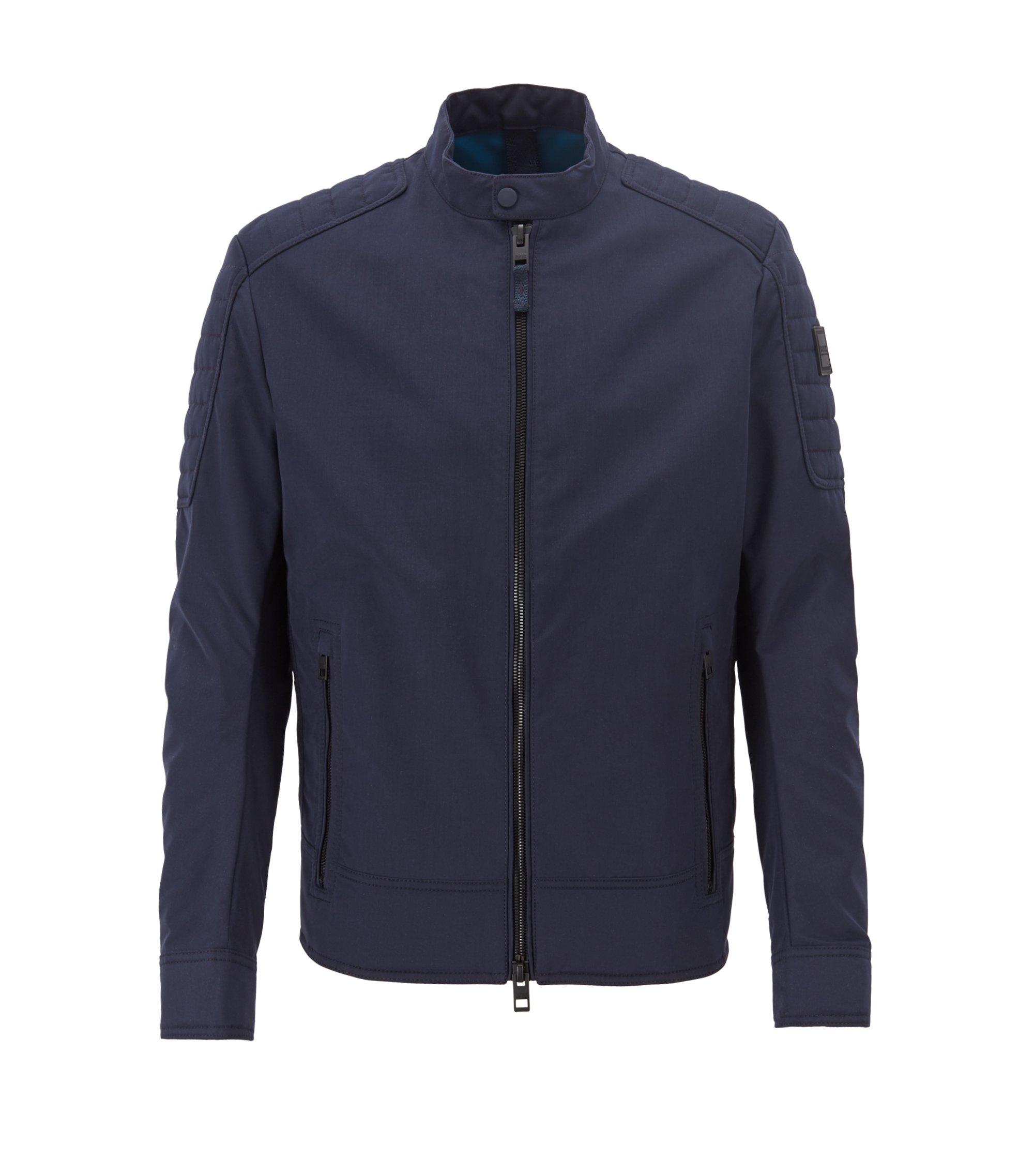 Regular-fit biker jacket in water-repellent peached fabric, Dark Blue