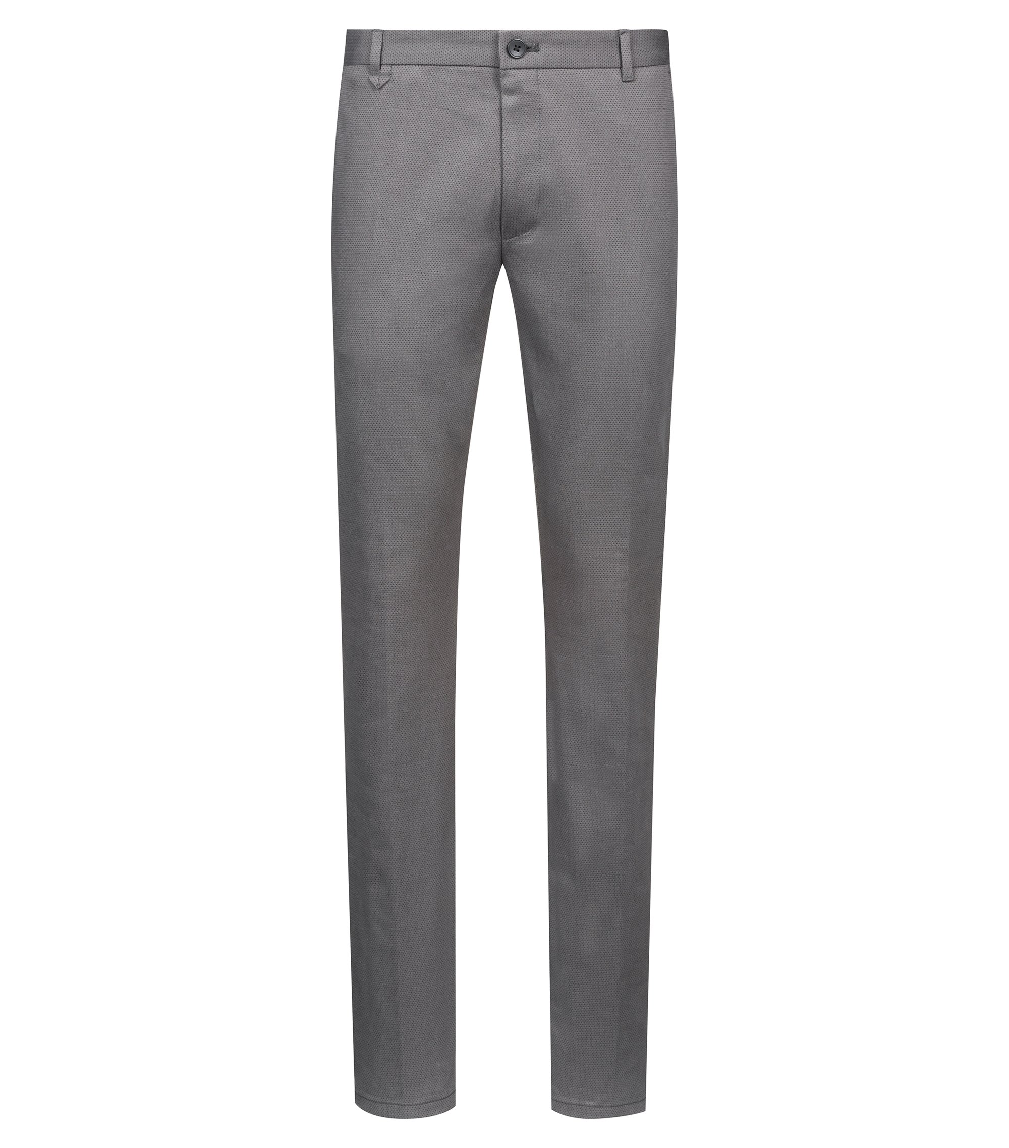 Extra-slim-fit pants in a structured stretch-cotton blend, Grey