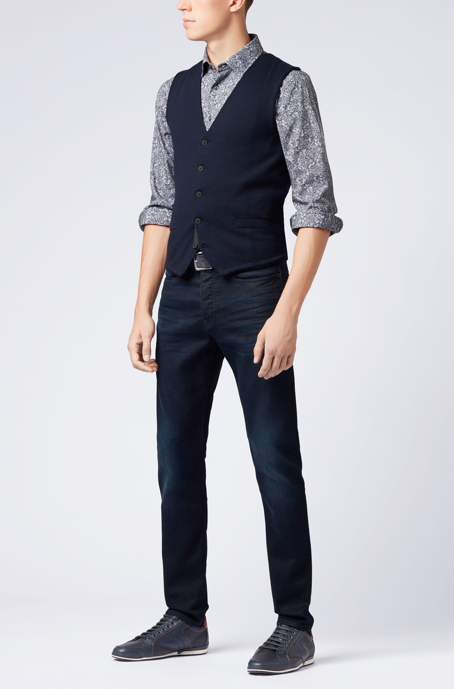 Slim-fit shirt in cotton with cable-knit print, Dark Blue