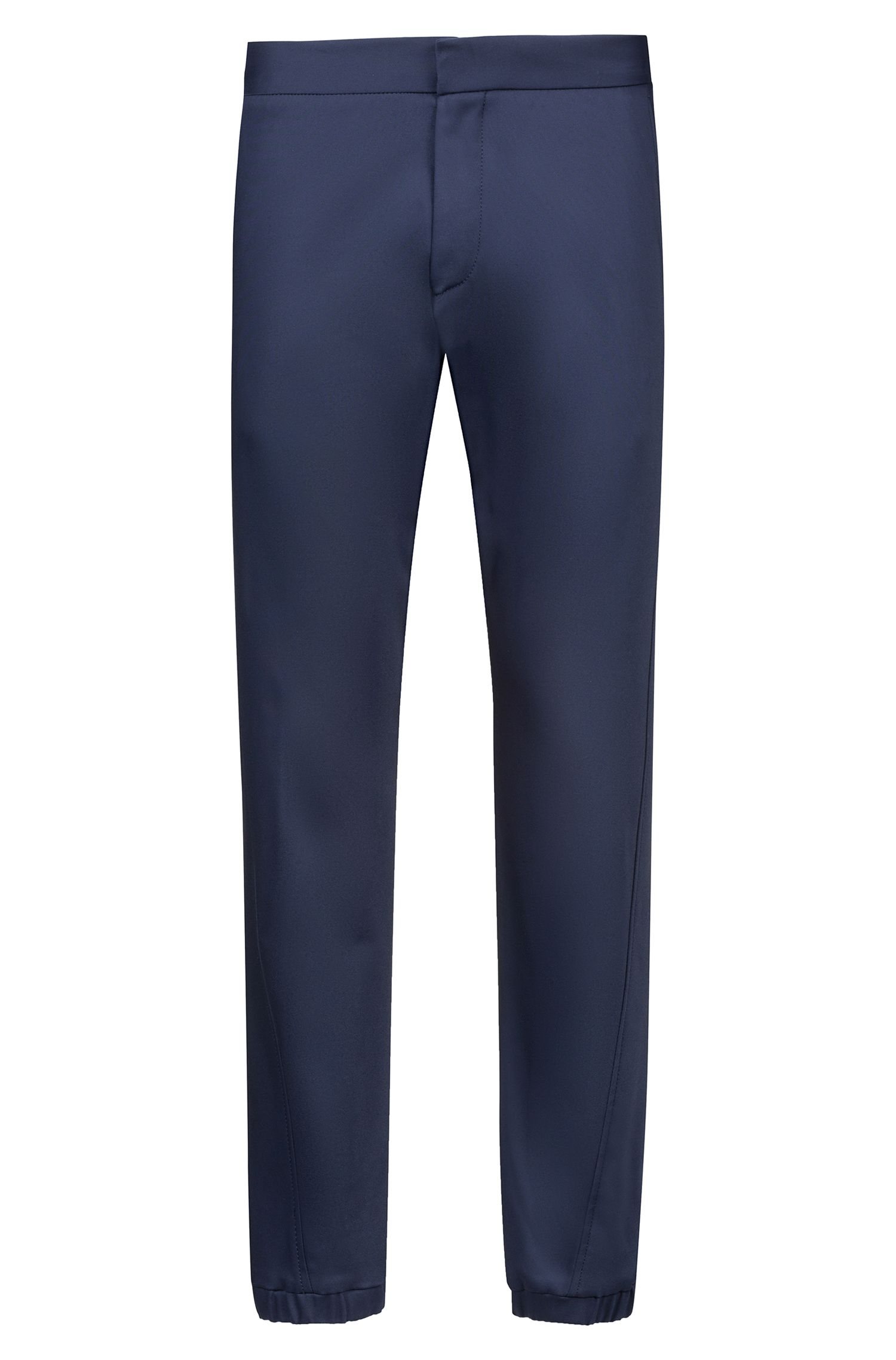 Slim-fit pants with elastic waistband and hems, Dark Blue