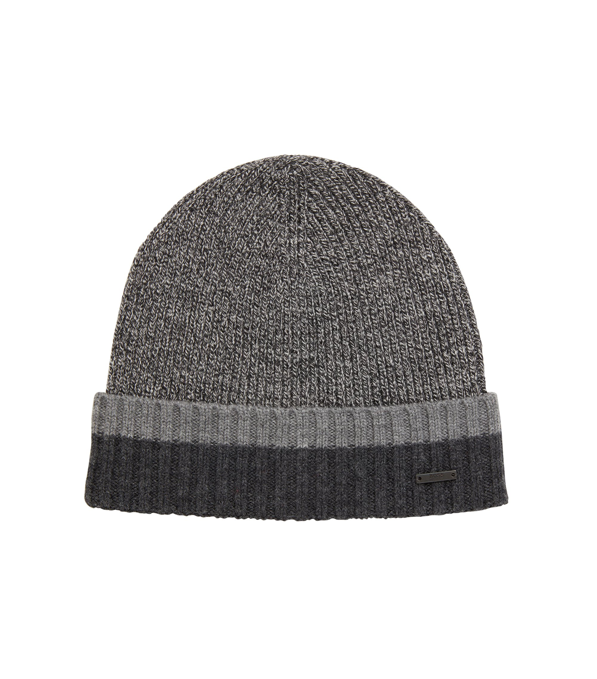 Beanie hat in virgin wool with contrast turn-up, Black