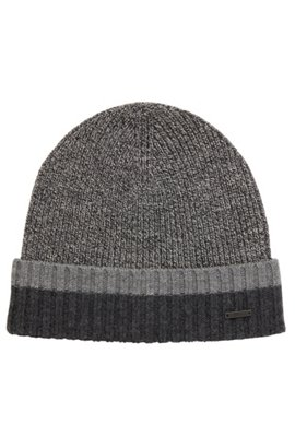 7adf18ca93a Beanie hat in virgin wool with contrast turn-up