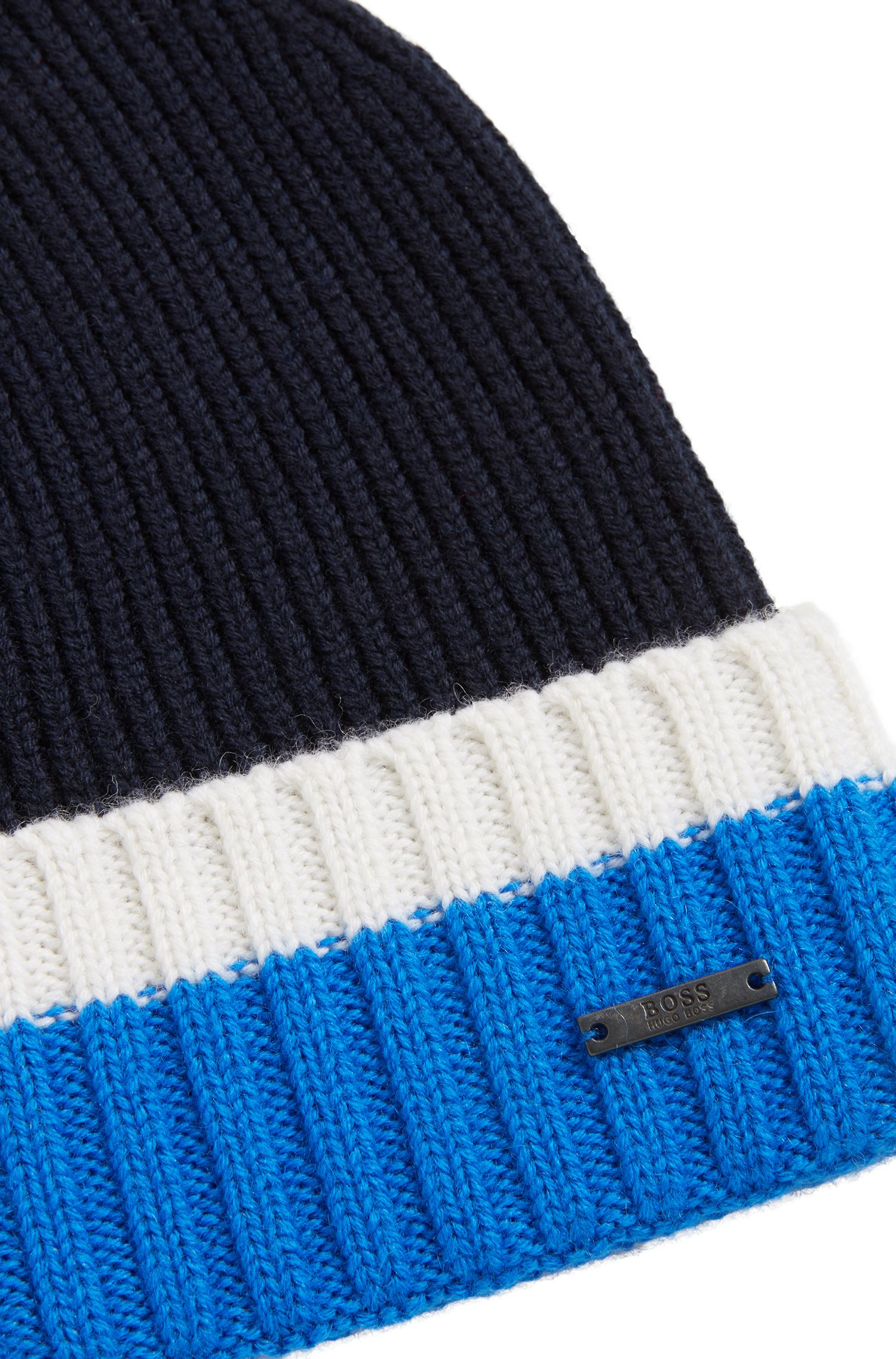 Beanie hat in virgin wool with contrast turn-up, Open Blue
