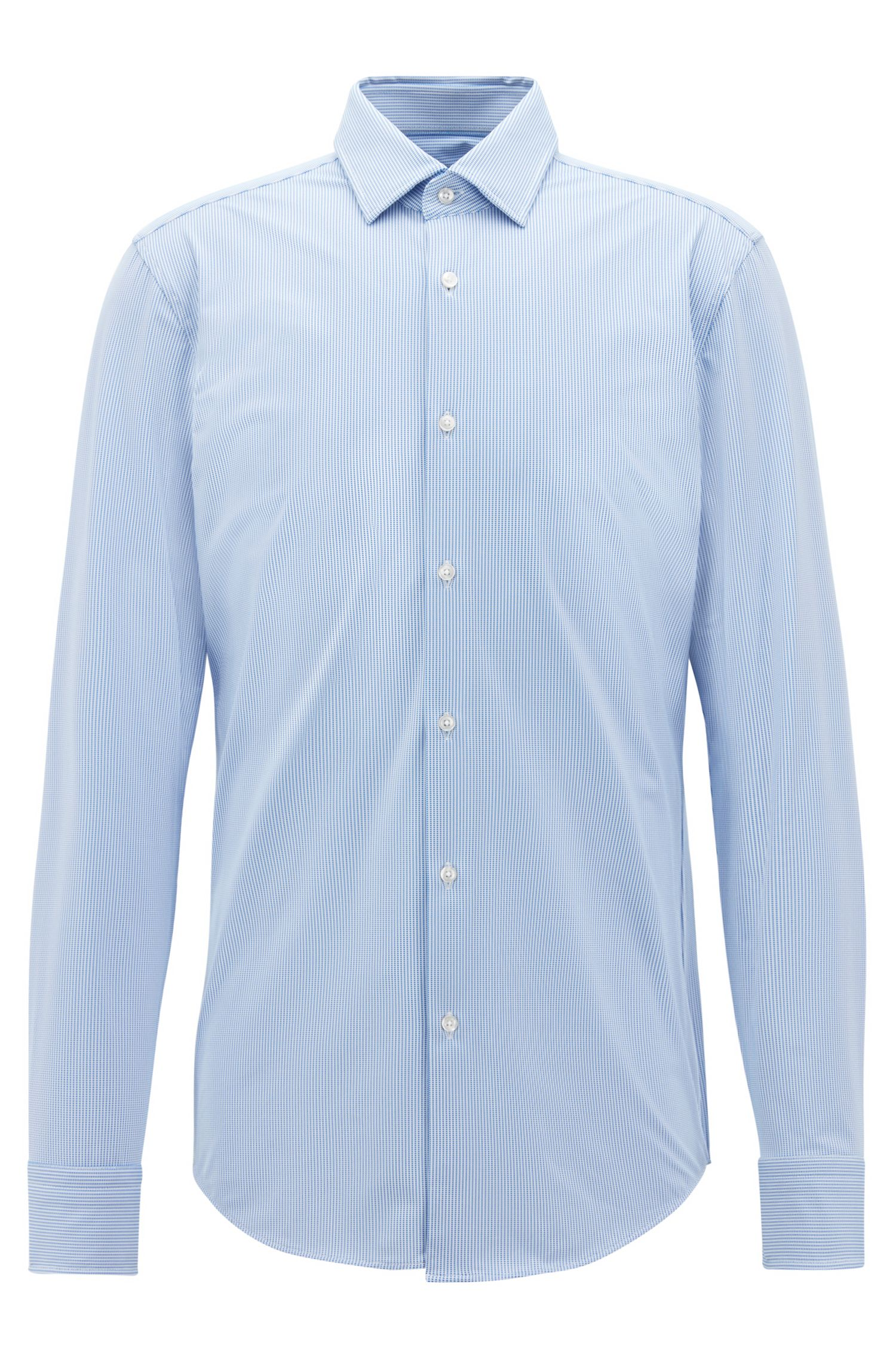 Slim-fit shirt in performance-stretch fabric, Blue
