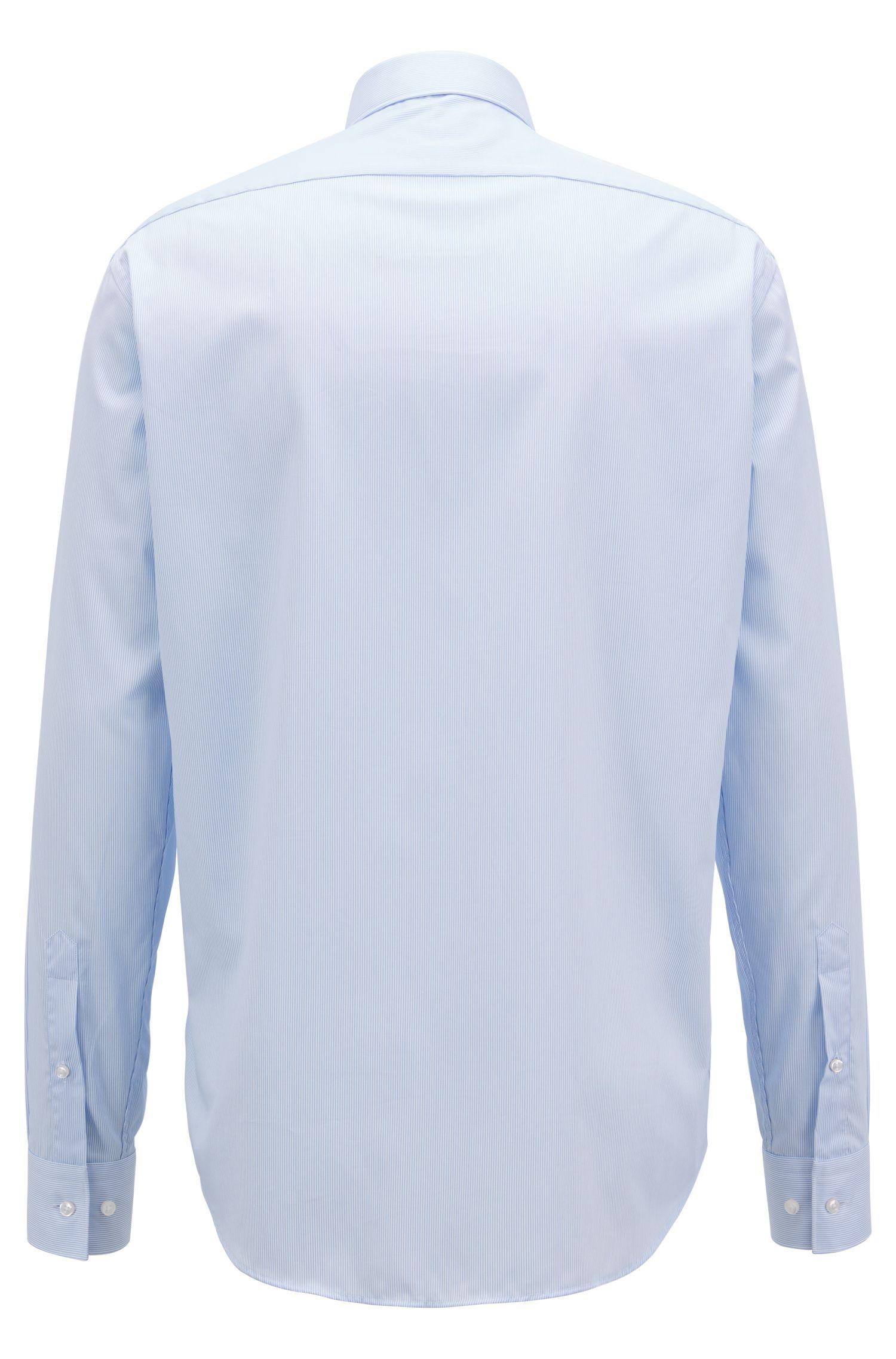 Regular-fit striped cotton shirt with aloe vera finish, Light Blue