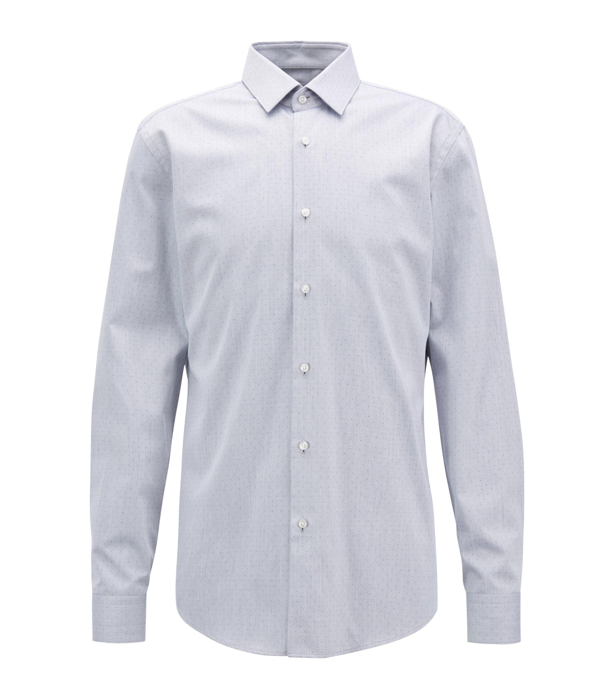 Twill dobby slim-fit shirt with aloe vera finish, Dark Blue
