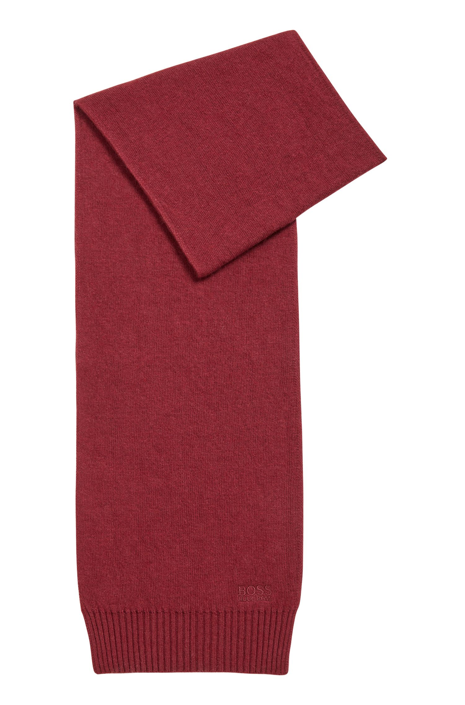 Knitted scarf with tonal logo detailing, Dark Red