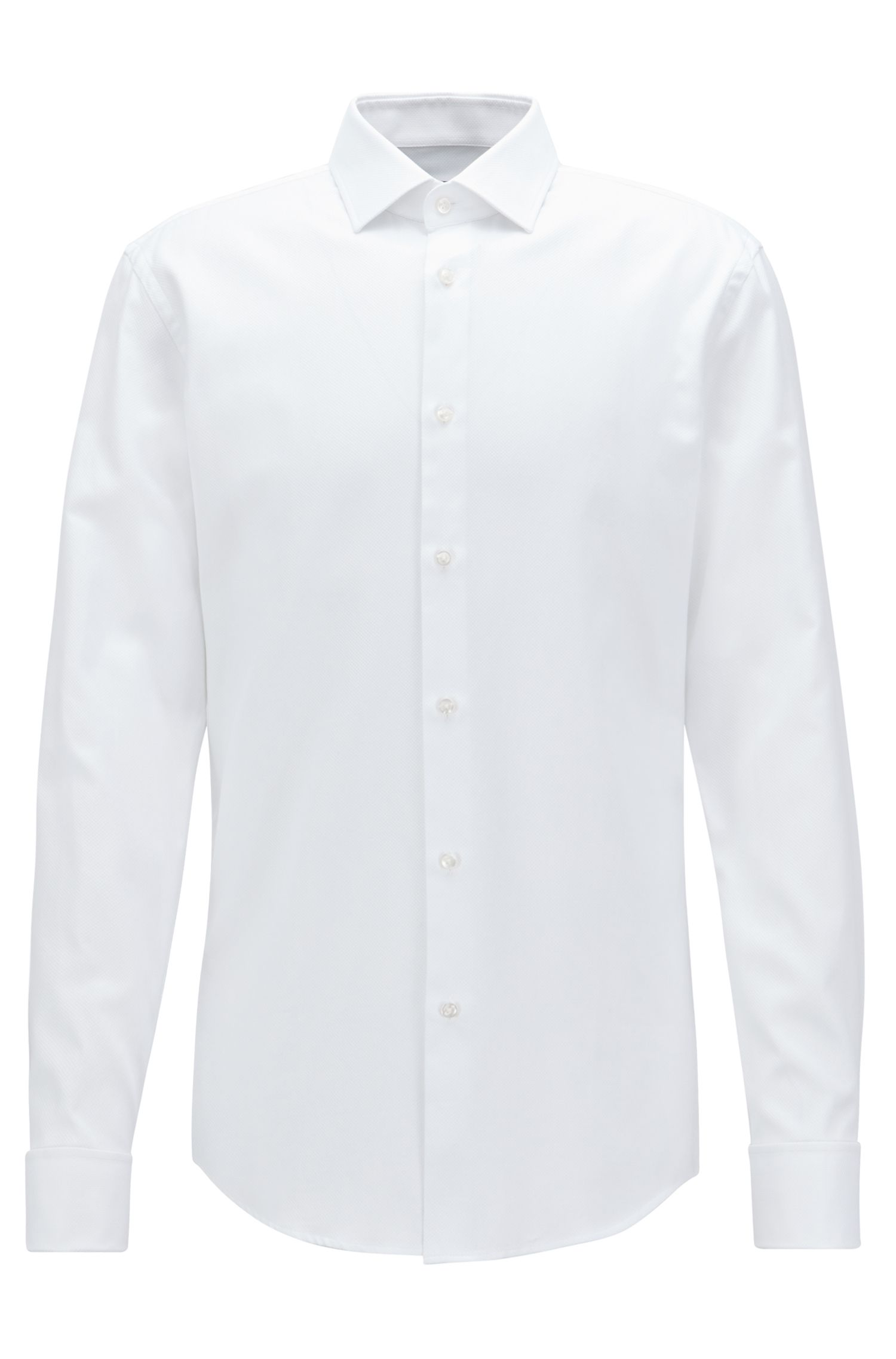Slim-fit shirt in structured cotton with double cuffs, White