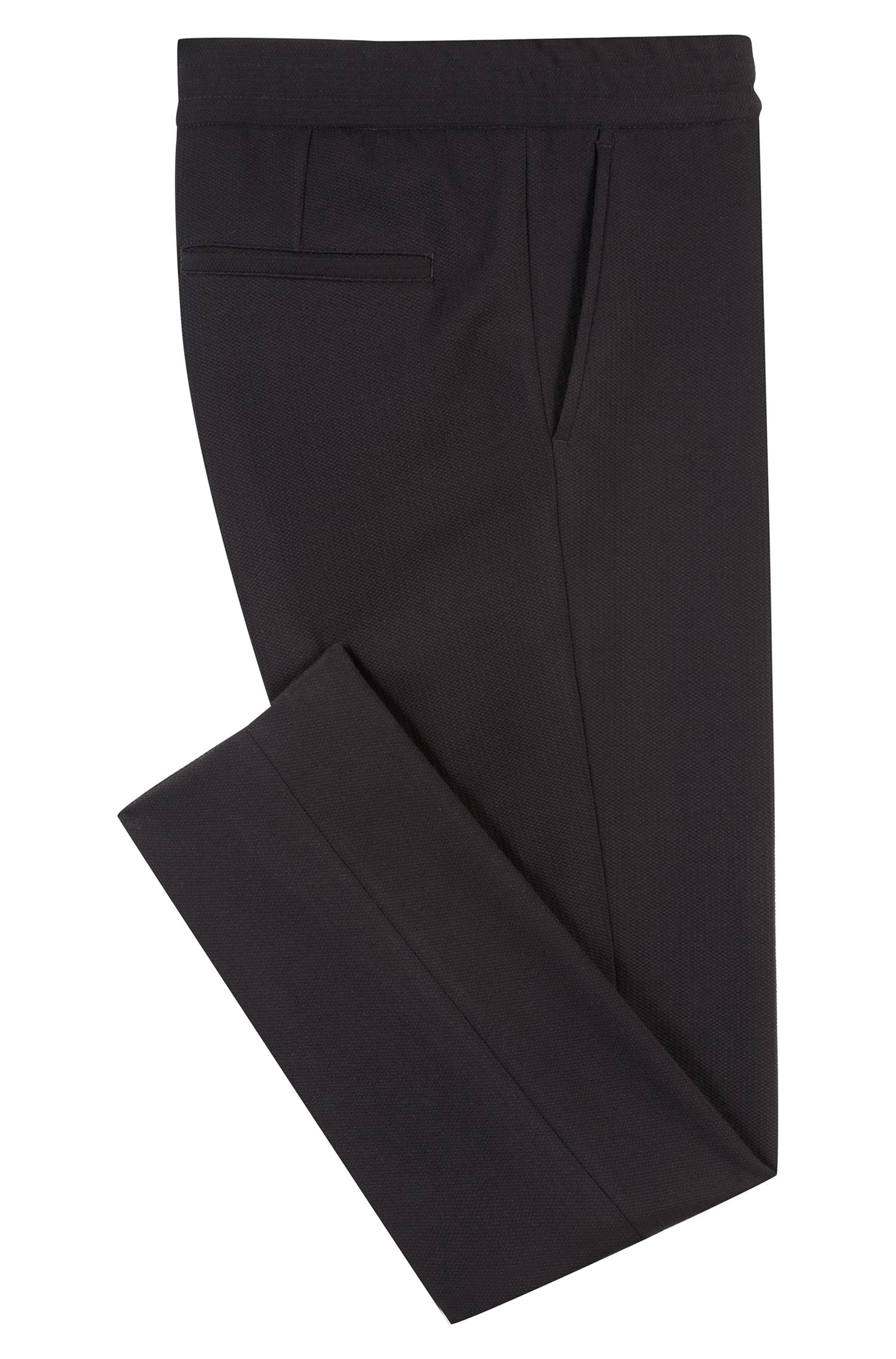 Tapered-fit pants in technical stretch fabric, Black