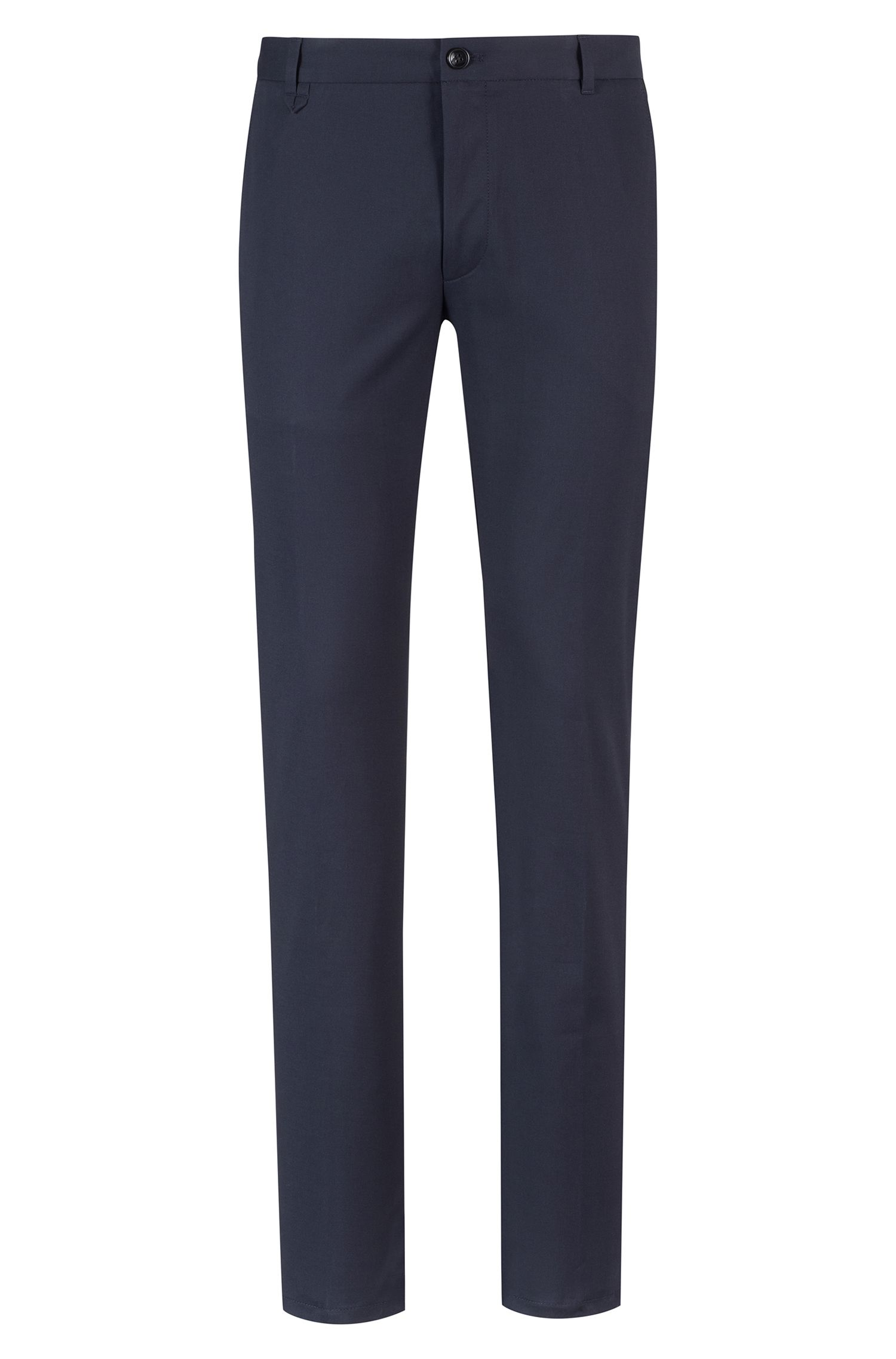 Extra-slim-fit gabardine pants in stretch cotton, Dark Blue