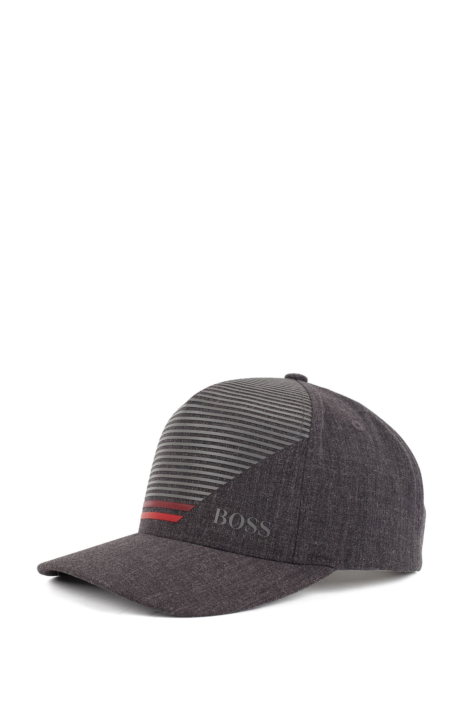 Snap-back cap in stretch fabric with stripe print, Charcoal