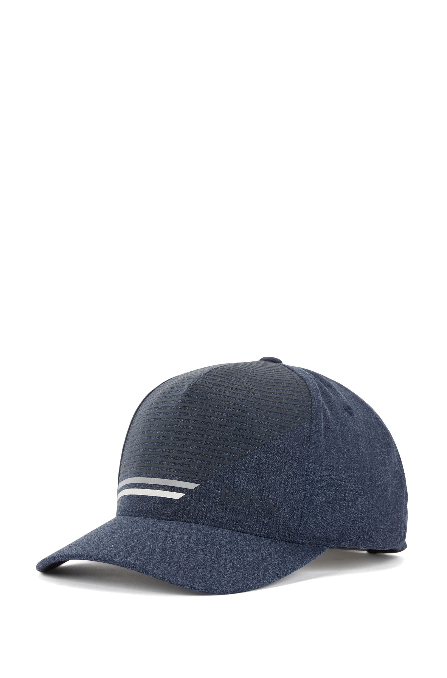 Snap-back cap in stretch fabric with stripe print, Dark Blue
