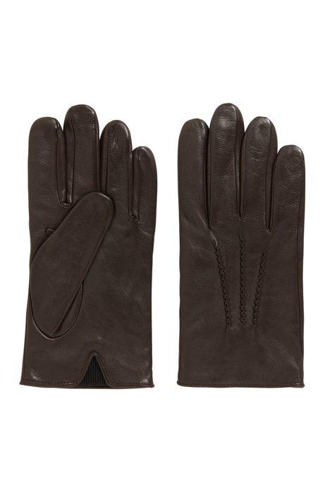 Lambskin-nappa leather gloves with elastic insert, Dark Brown