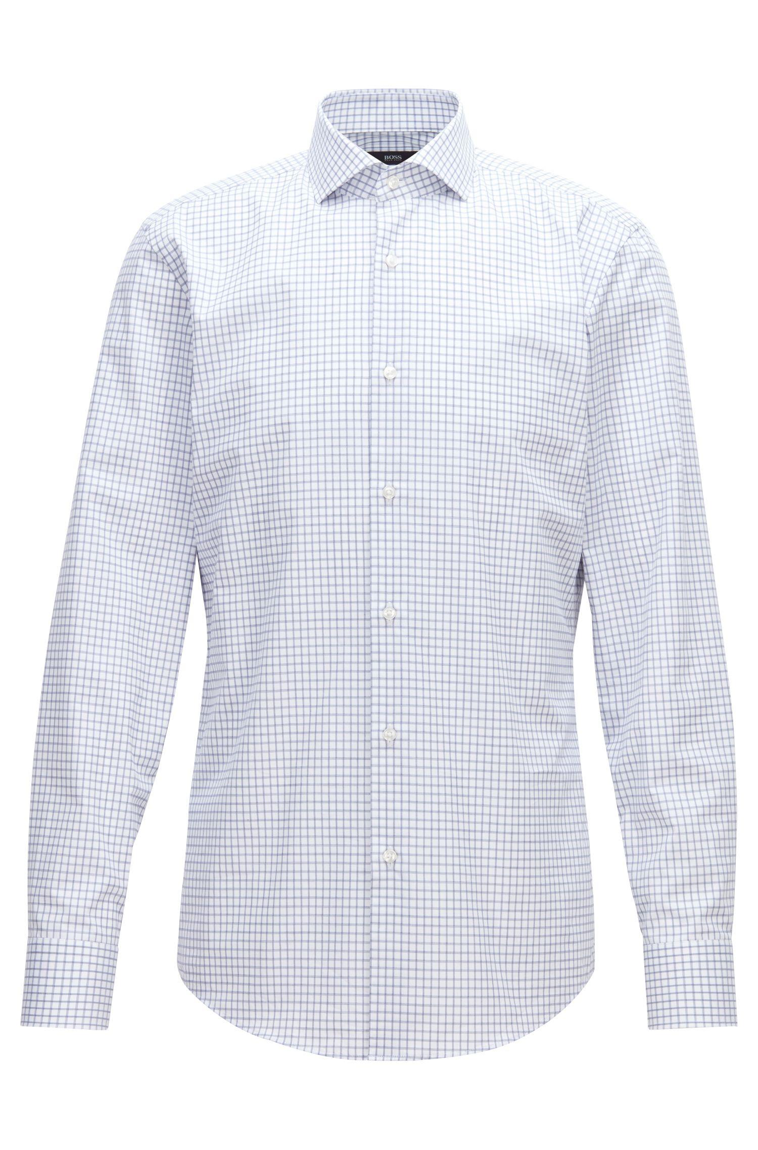 Slim-fit shirt in checkered cotton twill, Dark Blue