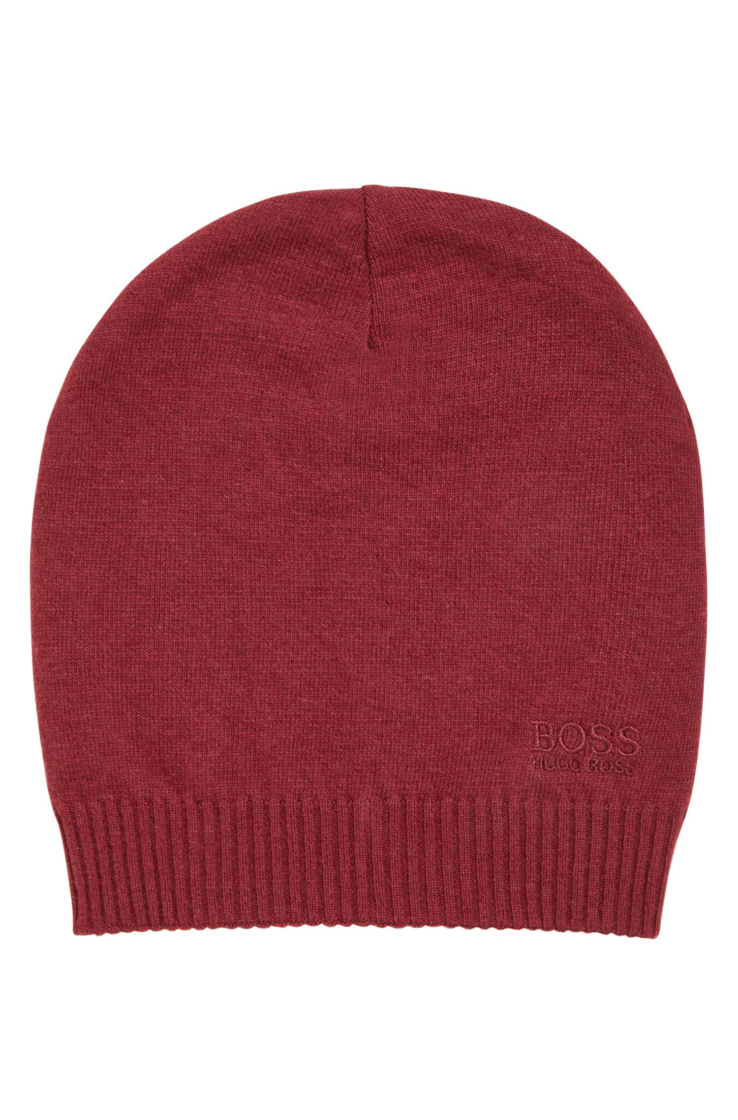 Knitted beanie hat with tonal logo, Dark Red