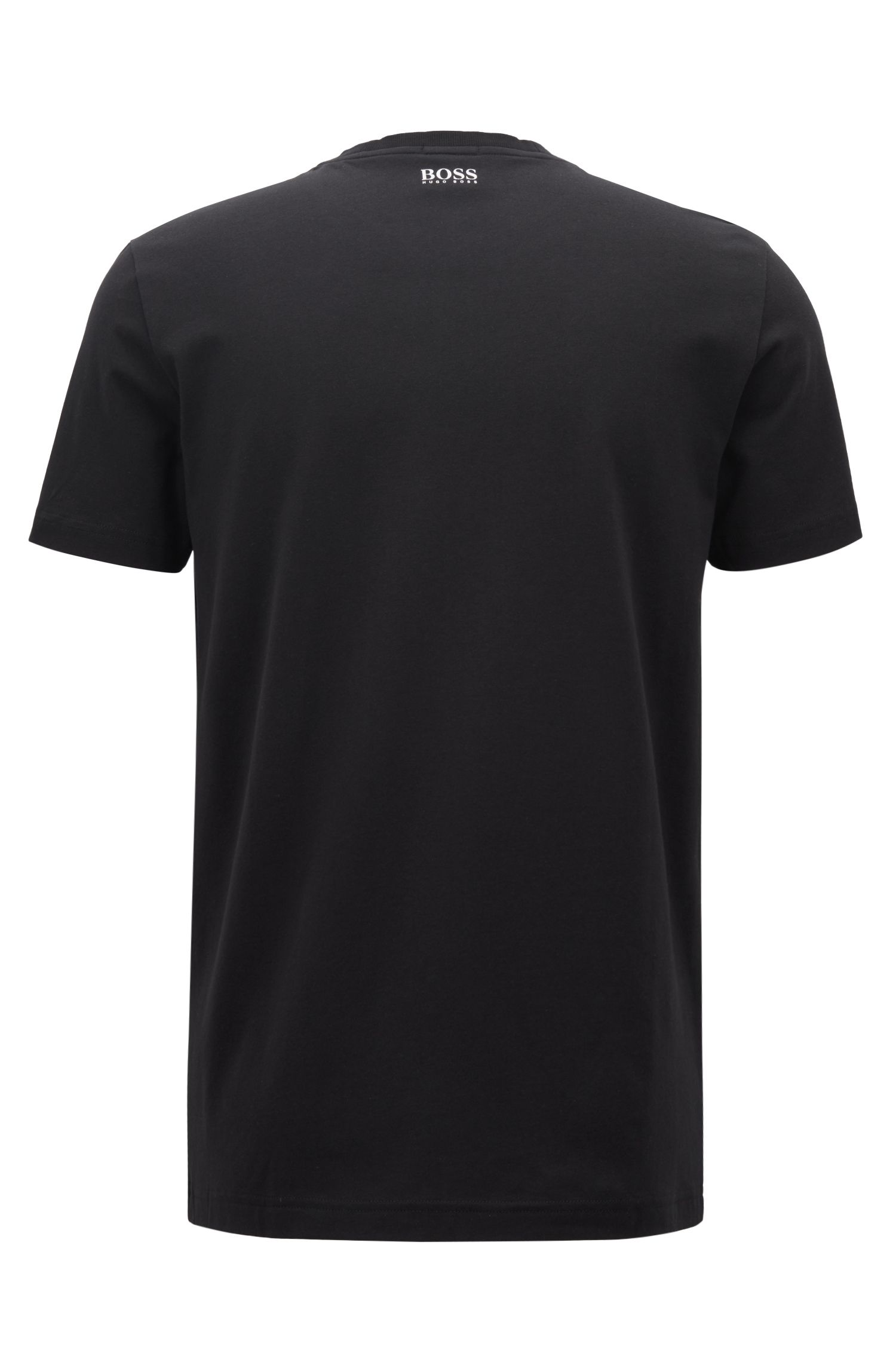 Logo T-shirt in stretch cotton with seasonal photographic print, Black