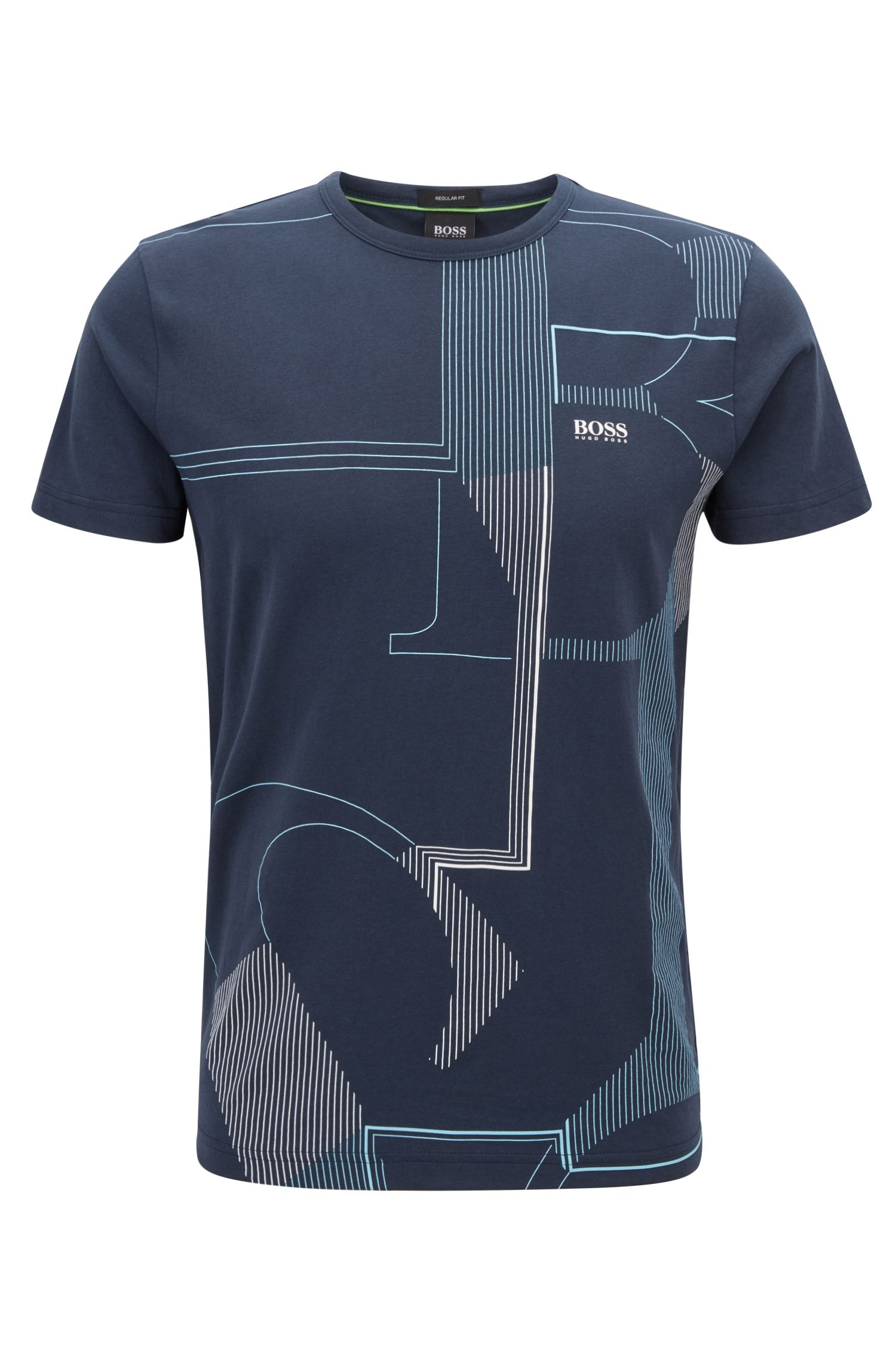 Crew-neck T-shirt in single jersey with logo artwork, Dark Blue