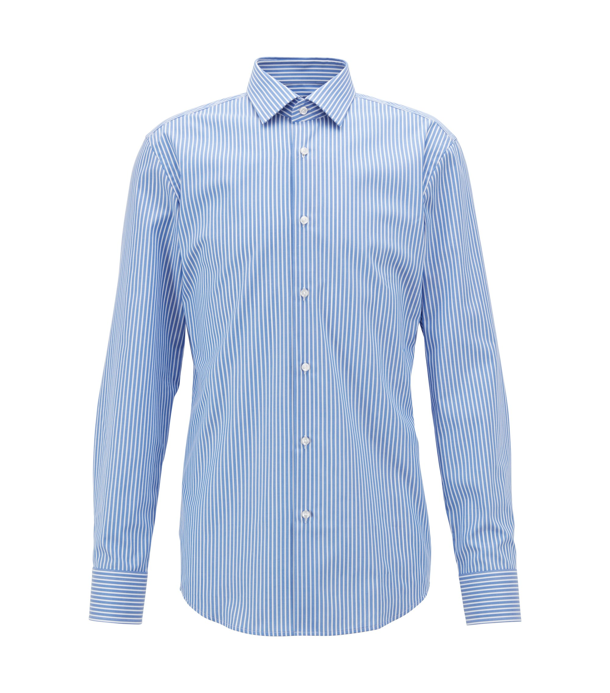Slim-fit striped shirt in Swiss natural-stretch cotton, Blue