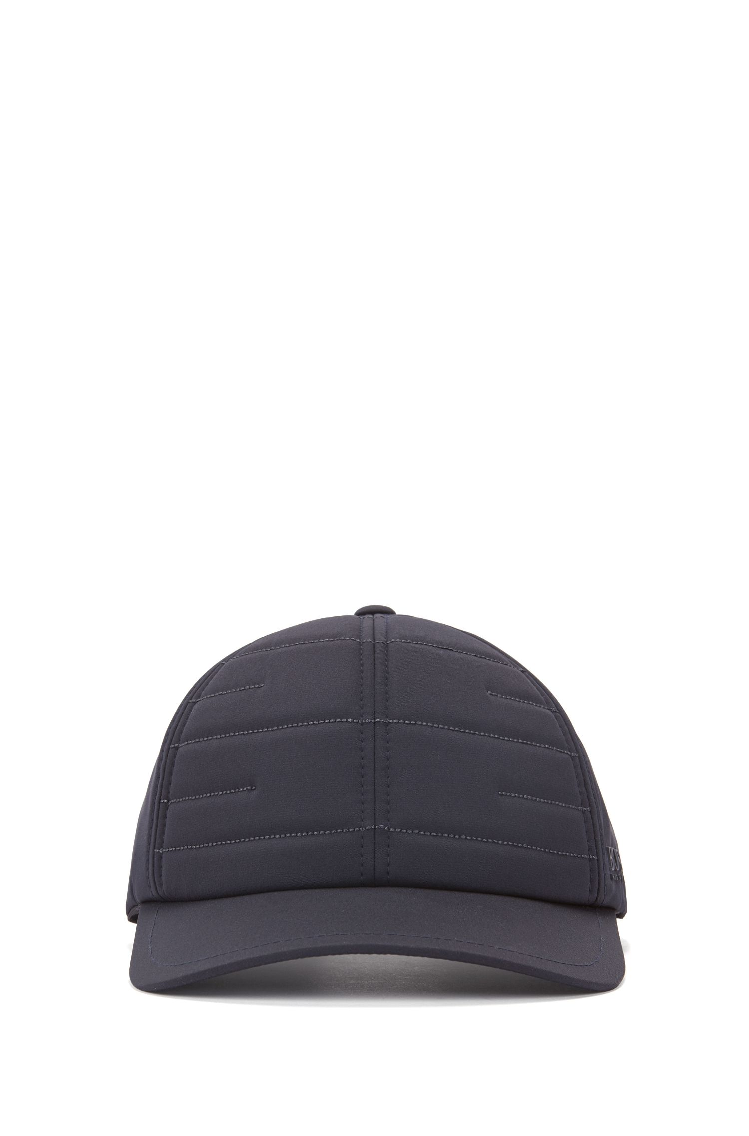 Cap in technical stretch fabric with quilted front panel, Dark Blue