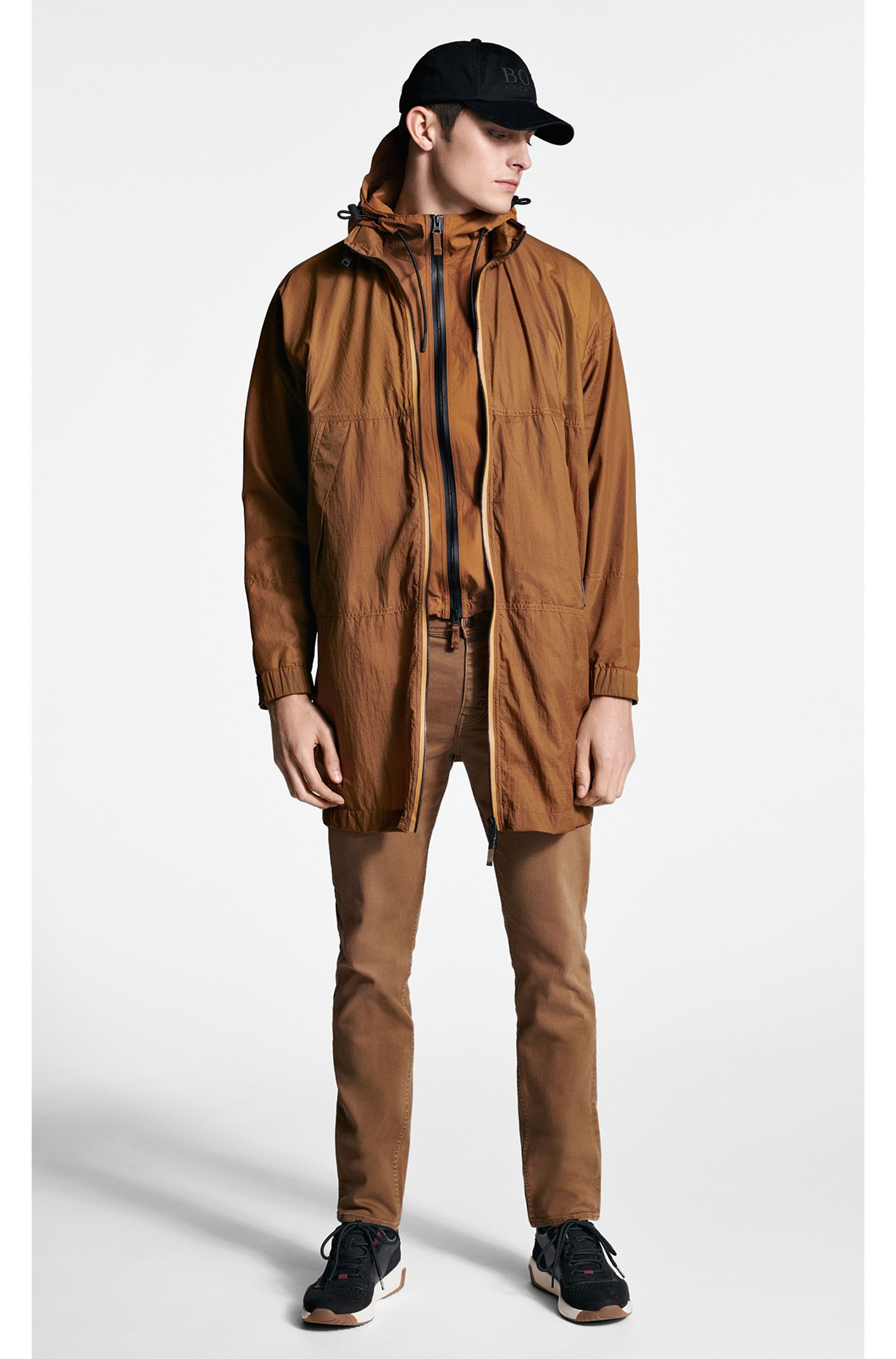Water-repellent hooded jacket in wrinkle-effect stretch fabric, Brown