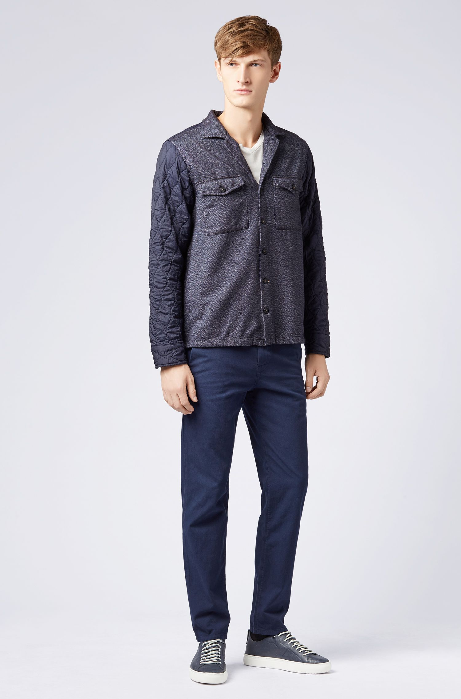 Oversized-fit overshirt with cotton front and padded panels, Dark Blue