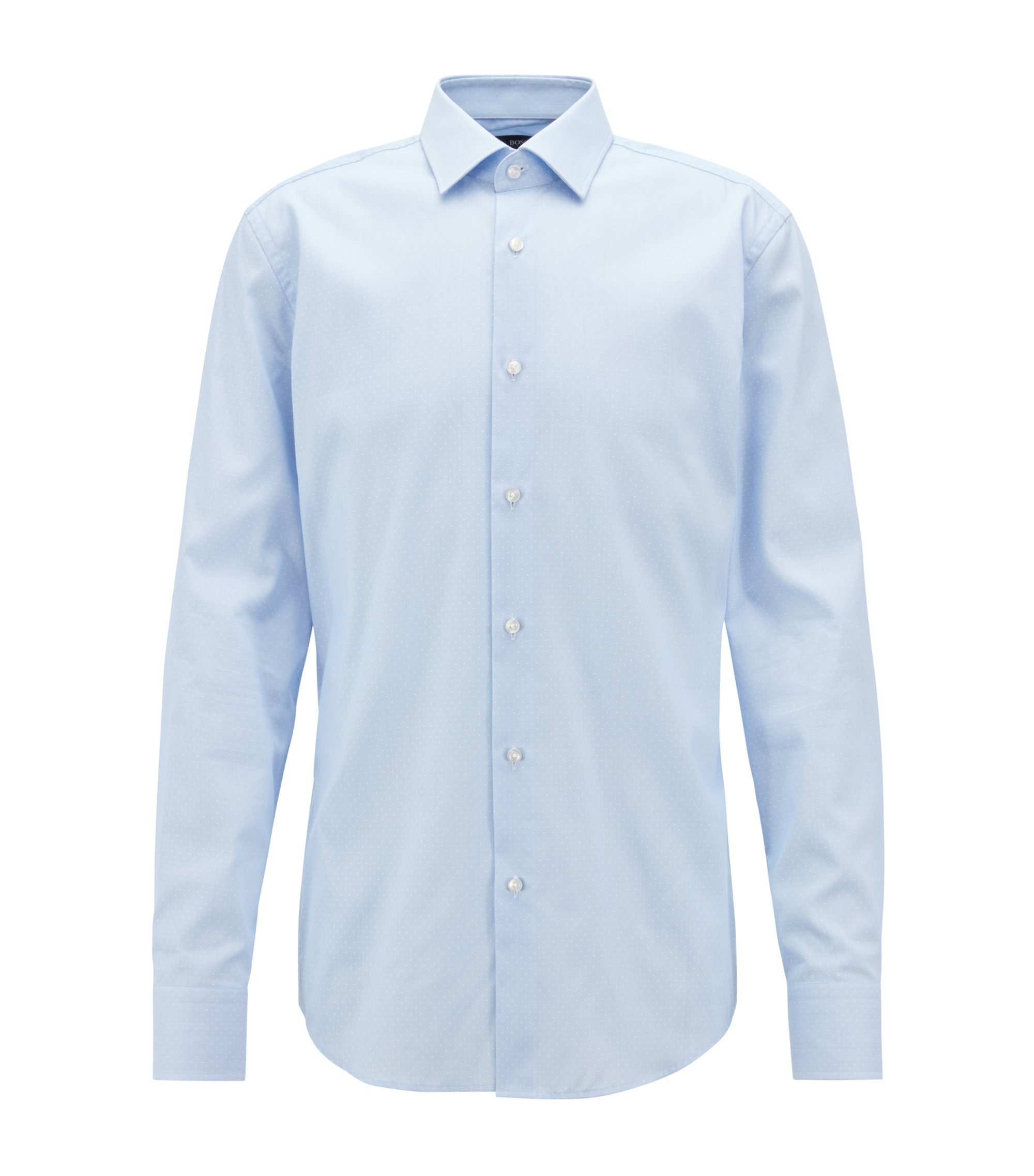Slim-fit shirt in structured Swiss cotton, Light Blue