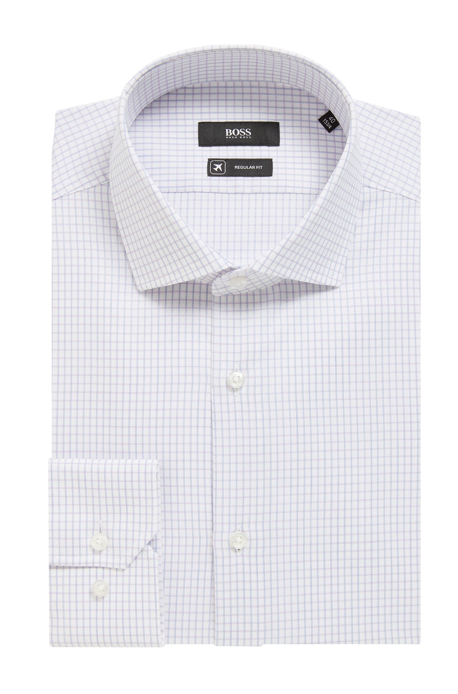 Travel Line shirt in non-iron checked Swiss cotton, Purple