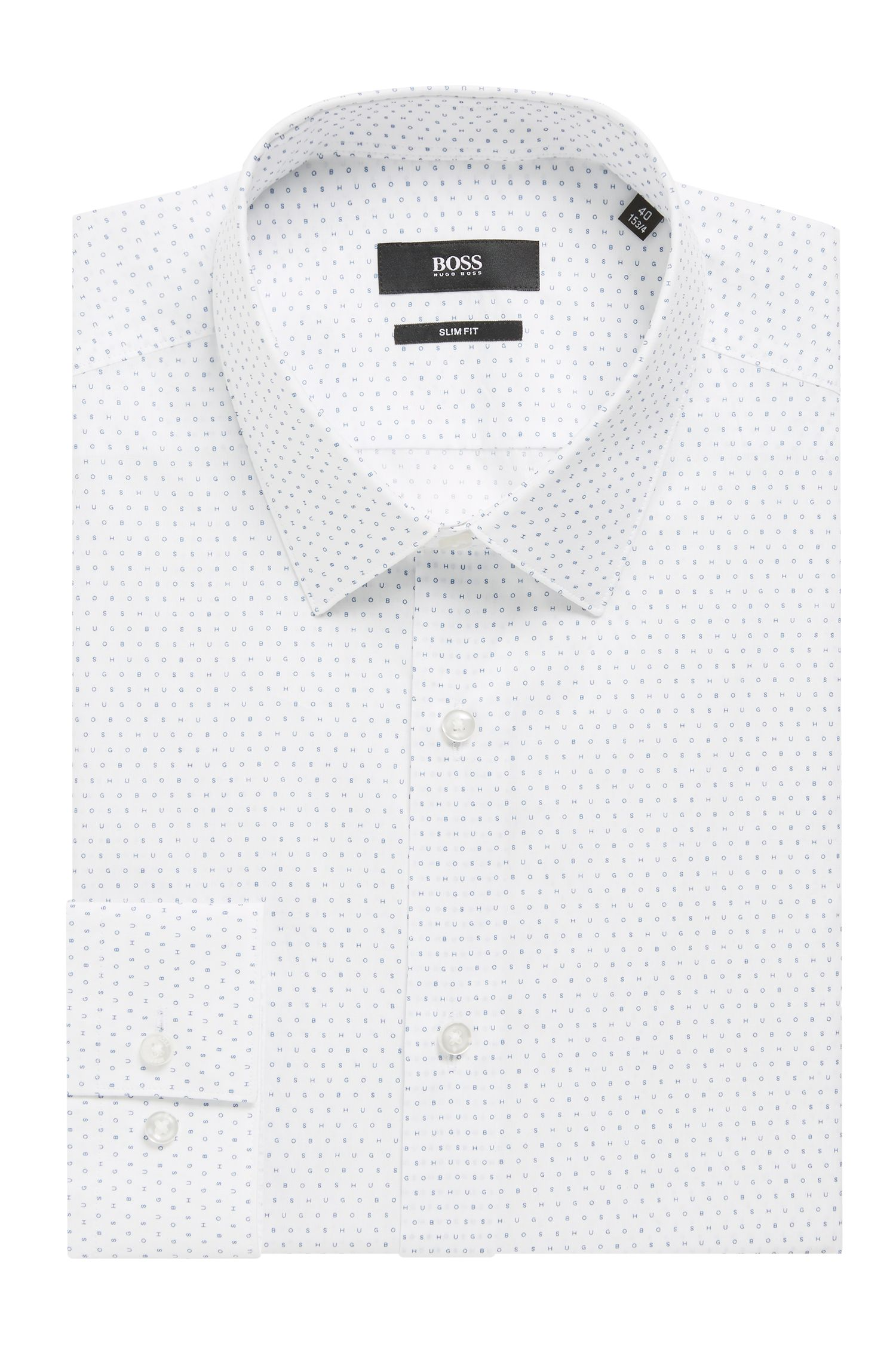 Slim-fit shirt in logo-print cotton, Open White