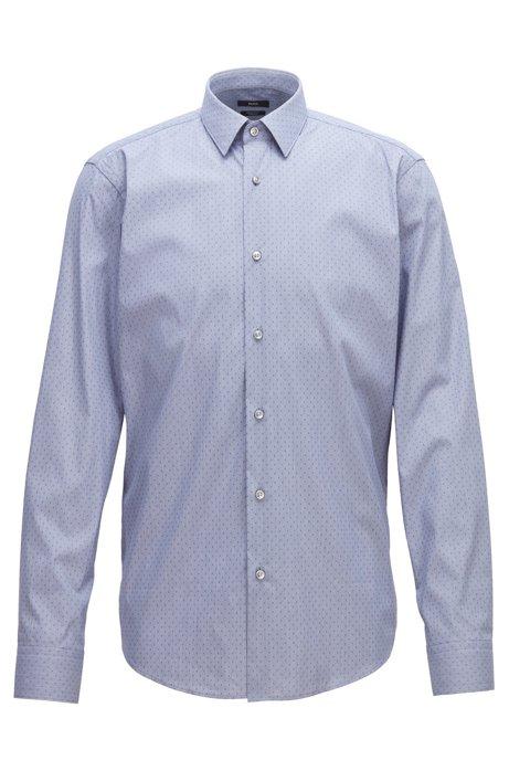Regular-fit shirt in stretch dobby with pepita pattern, Dark Blue