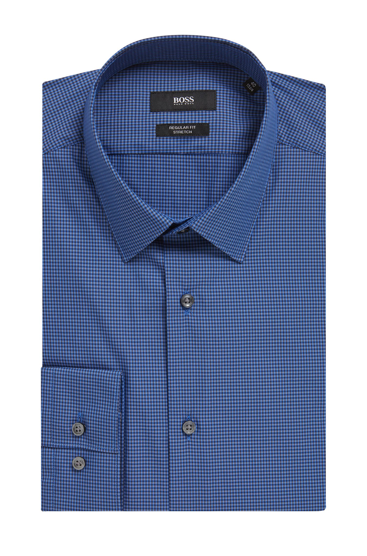 Two-tone gingham shirt in a stretch-cotton blend, Blue