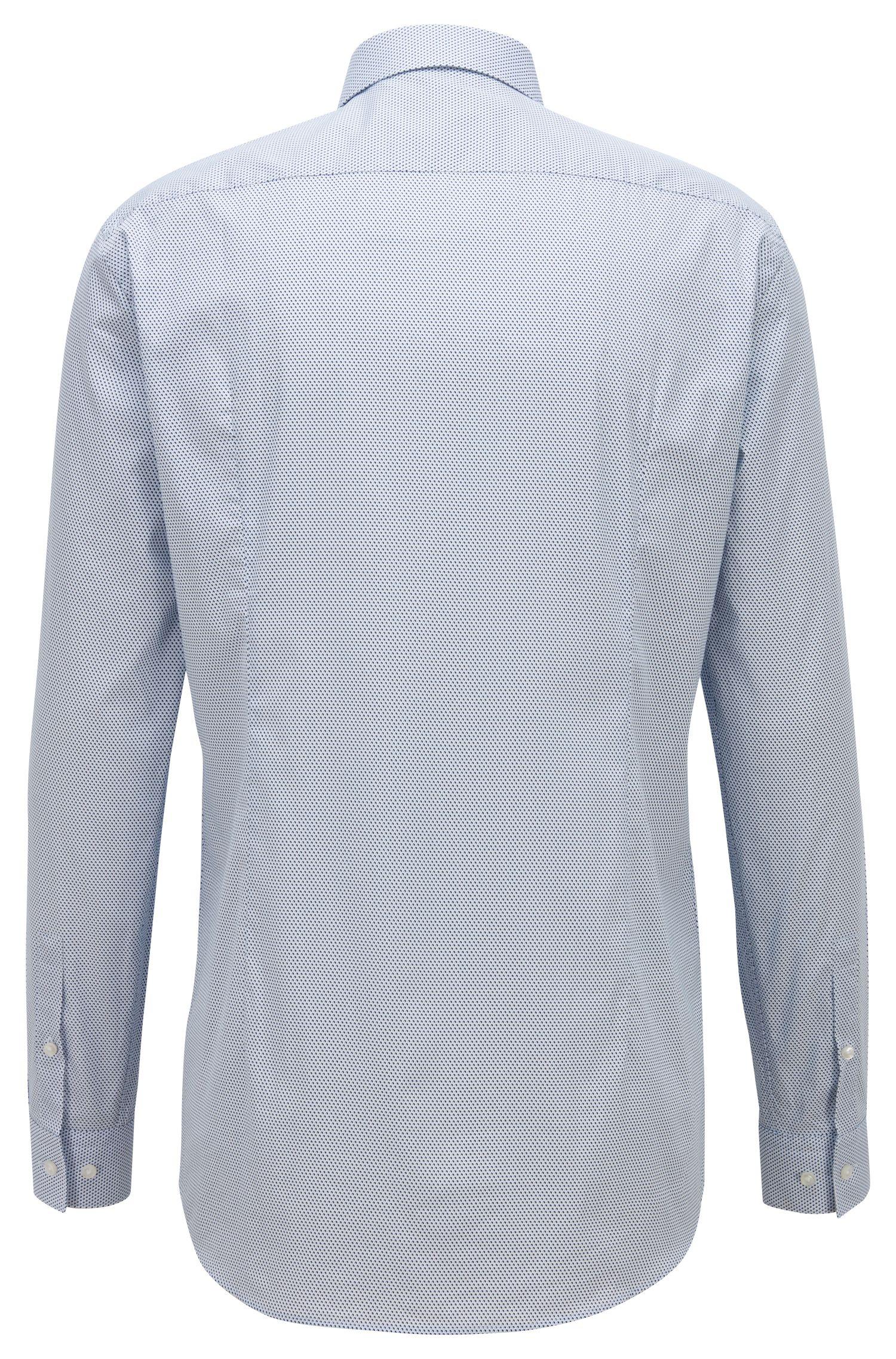 Slim-fit shirt in micro-print Italian cotton poplin, Dark Blue