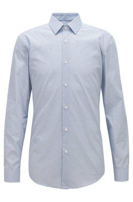 24867056d BOSS - Slim-fit shirt in micro-print Italian cotton poplin