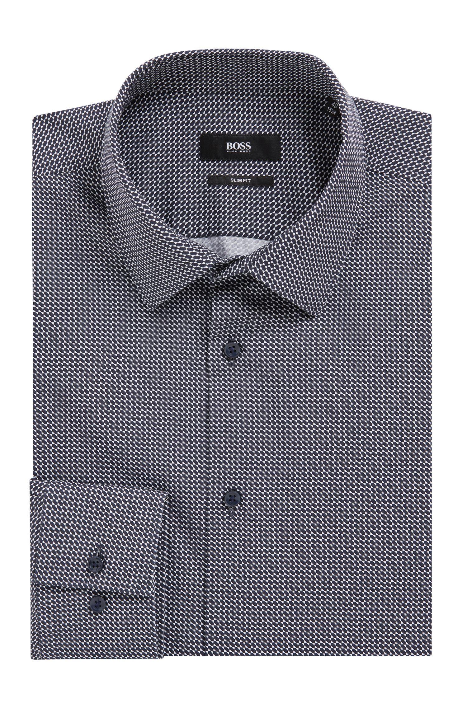 Slim-fit cotton shirt with printed geometric motif, Dark Blue