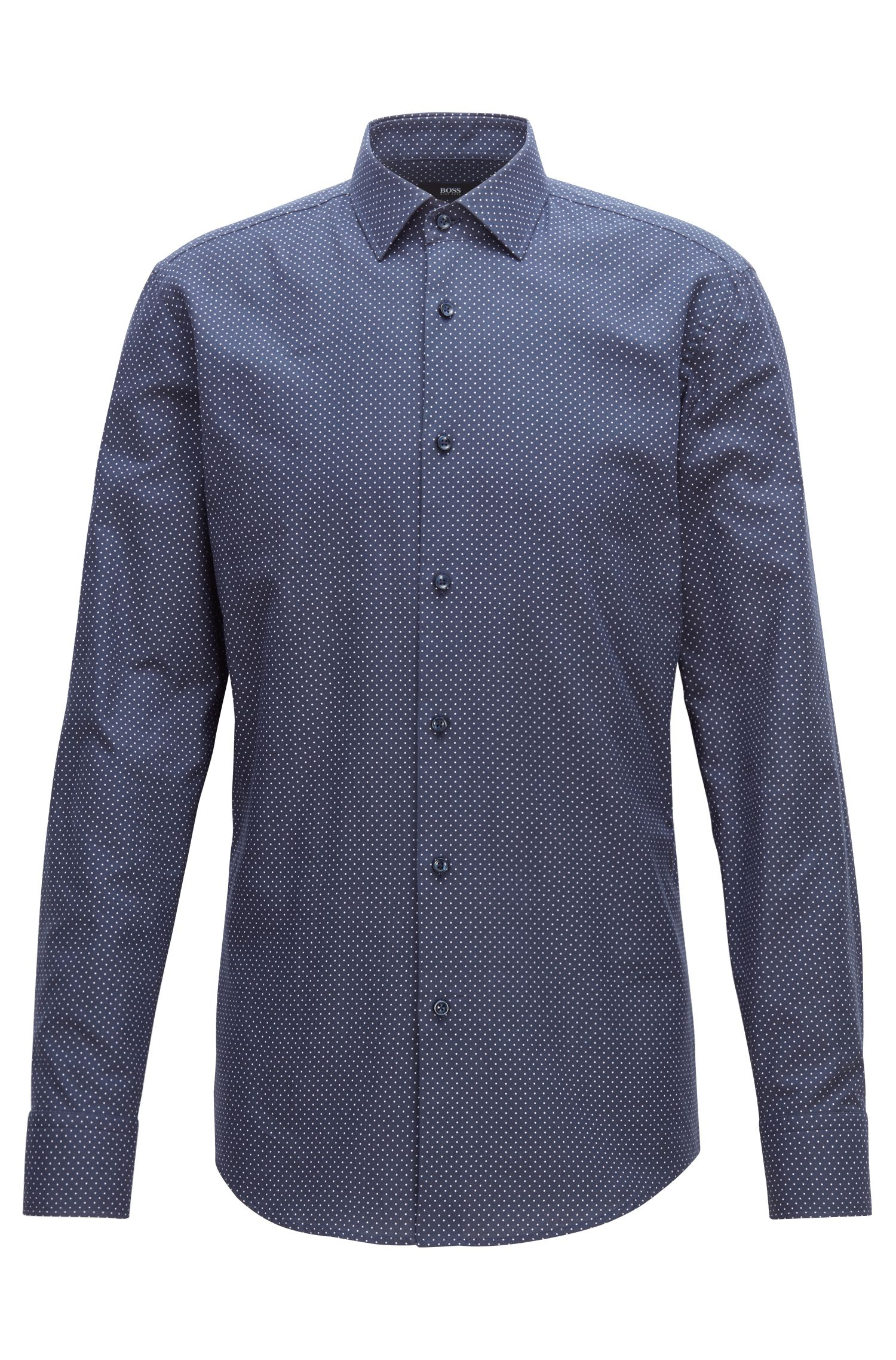Slim-fit shirt in cotton with printed dot motif, Dark Blue
