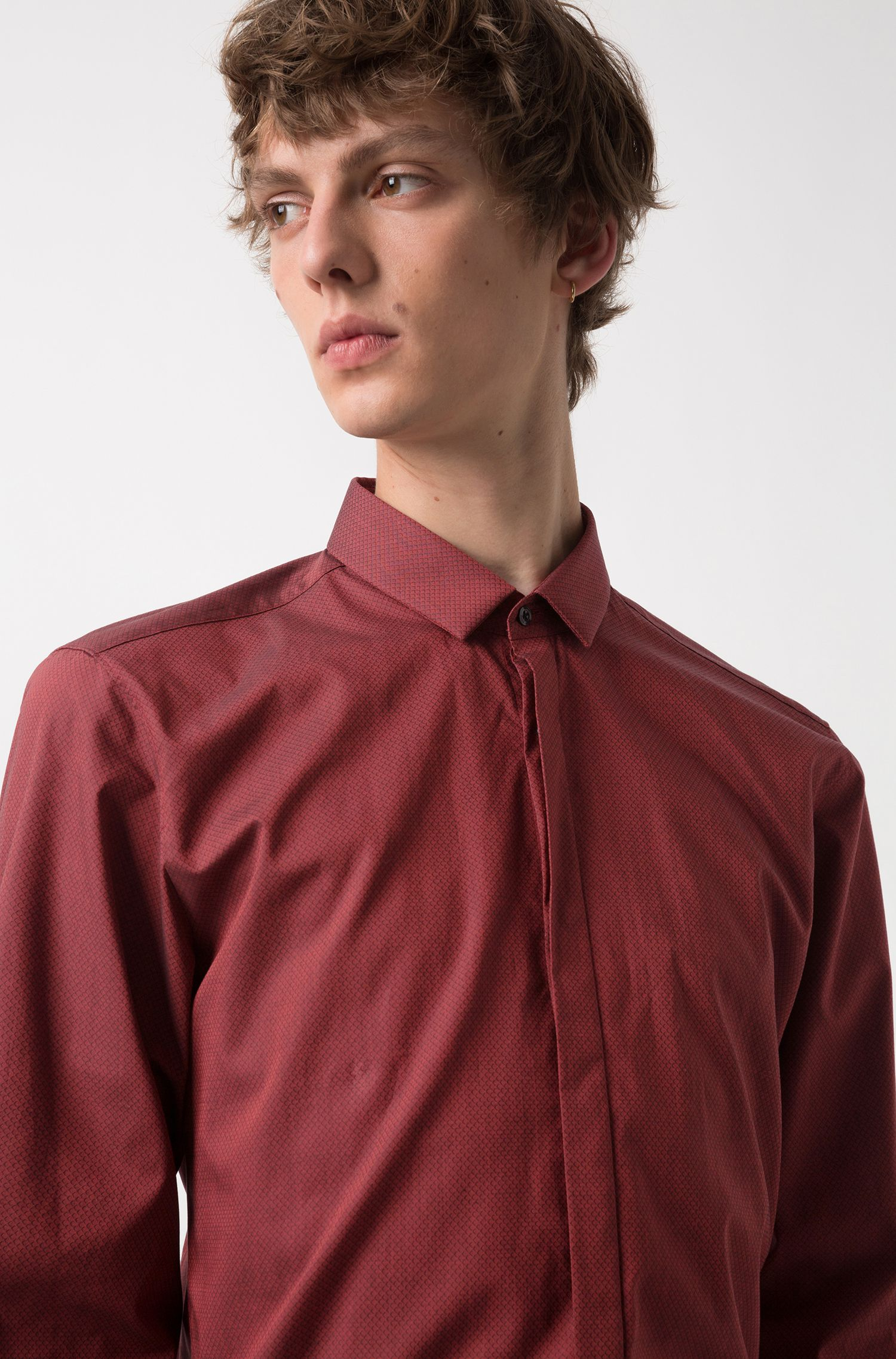Extra-slim-fit cotton shirt with concealed placket, Red