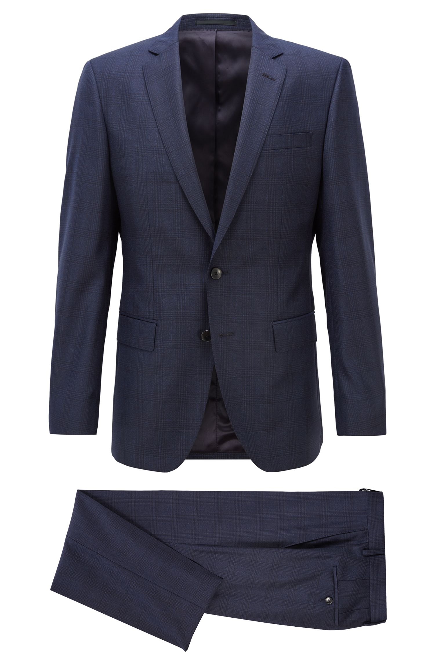 Slim-fit suit in Glen-check Italian virgin wool, Open Blue