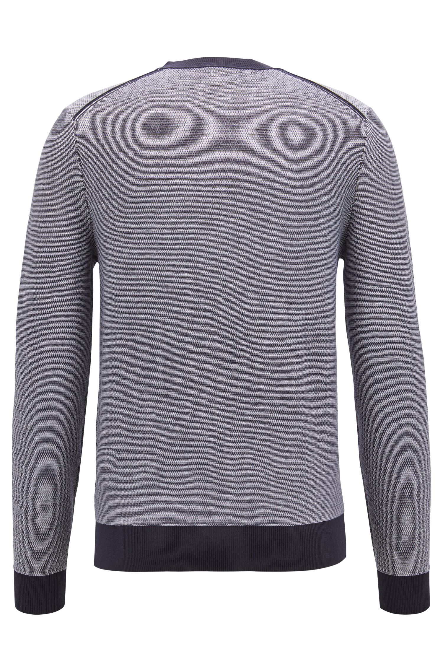 Knitted jacquard sweater with two-color micro pattern, Dark Blue
