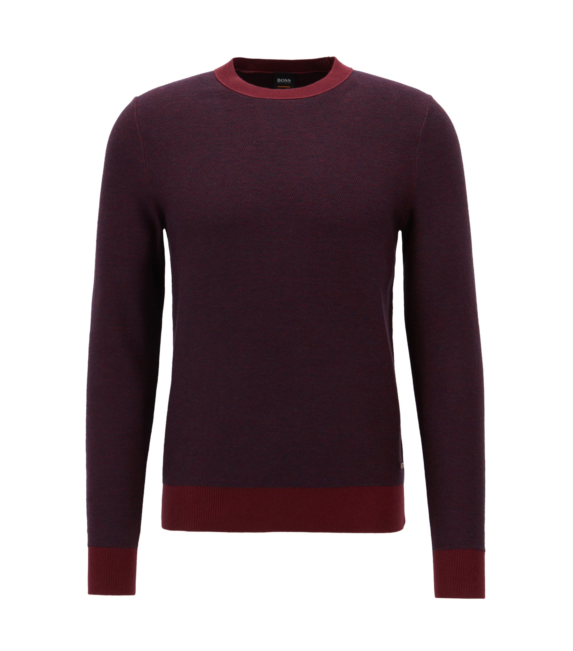 Knitted jacquard sweater with two-color micro pattern, Open Red