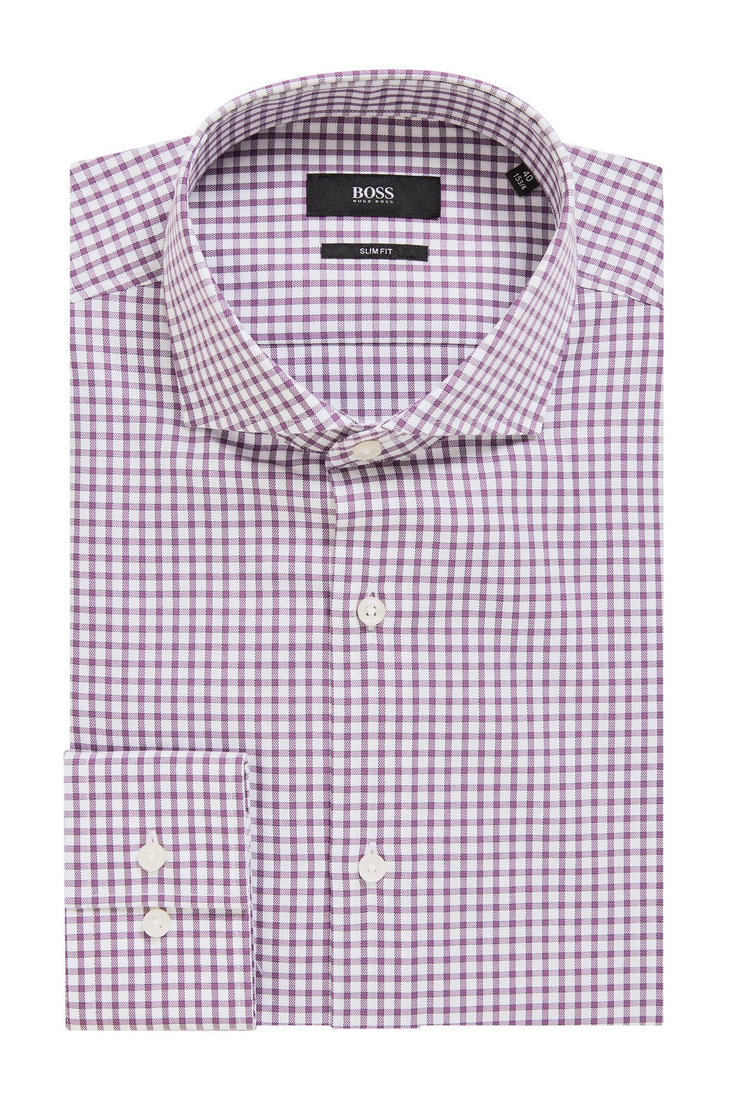 Slim-fit shirt in Vichy-check cotton twill, Purple