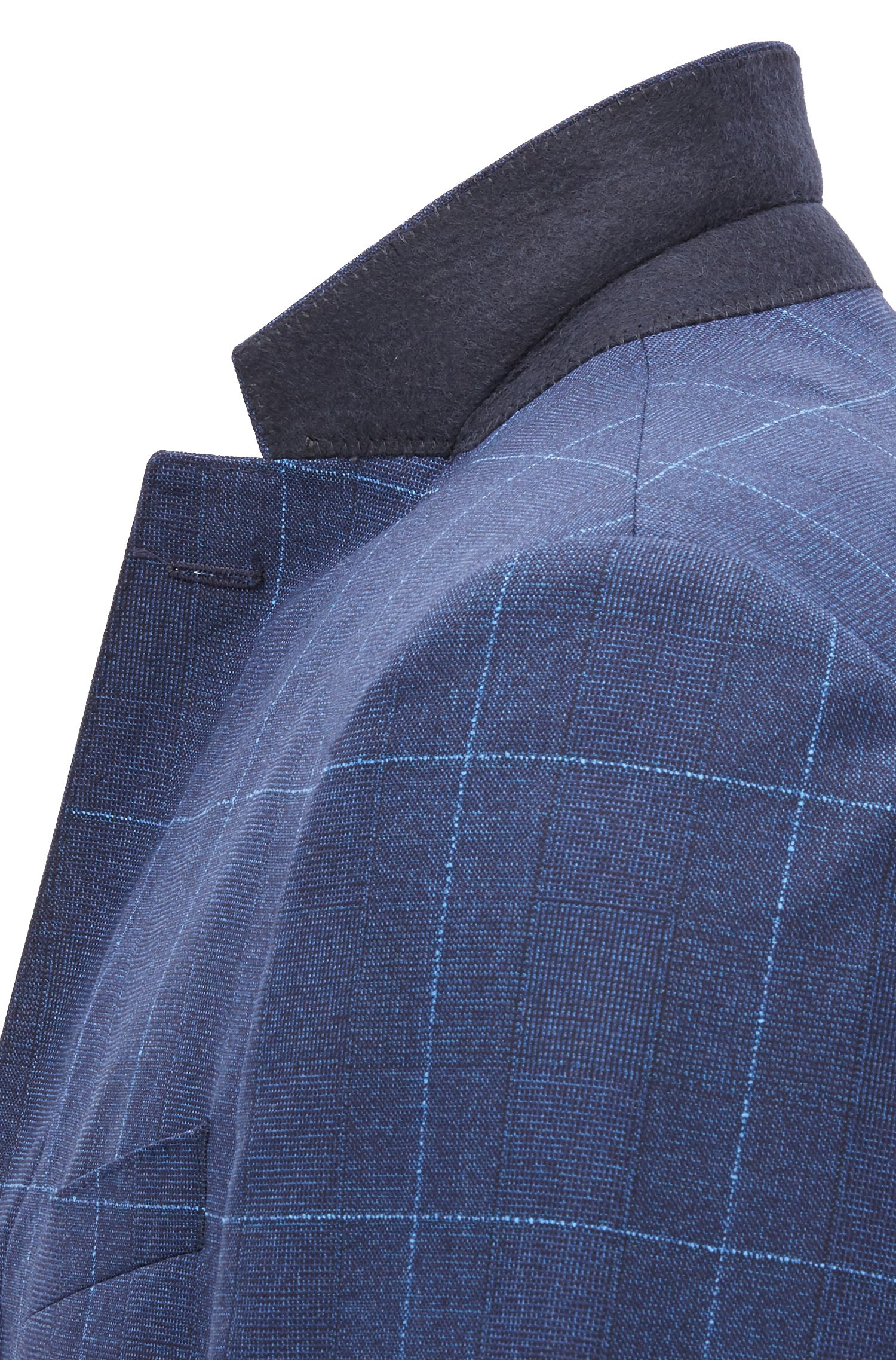 Slim-fit suit in checkered virgin wool, Dark Blue