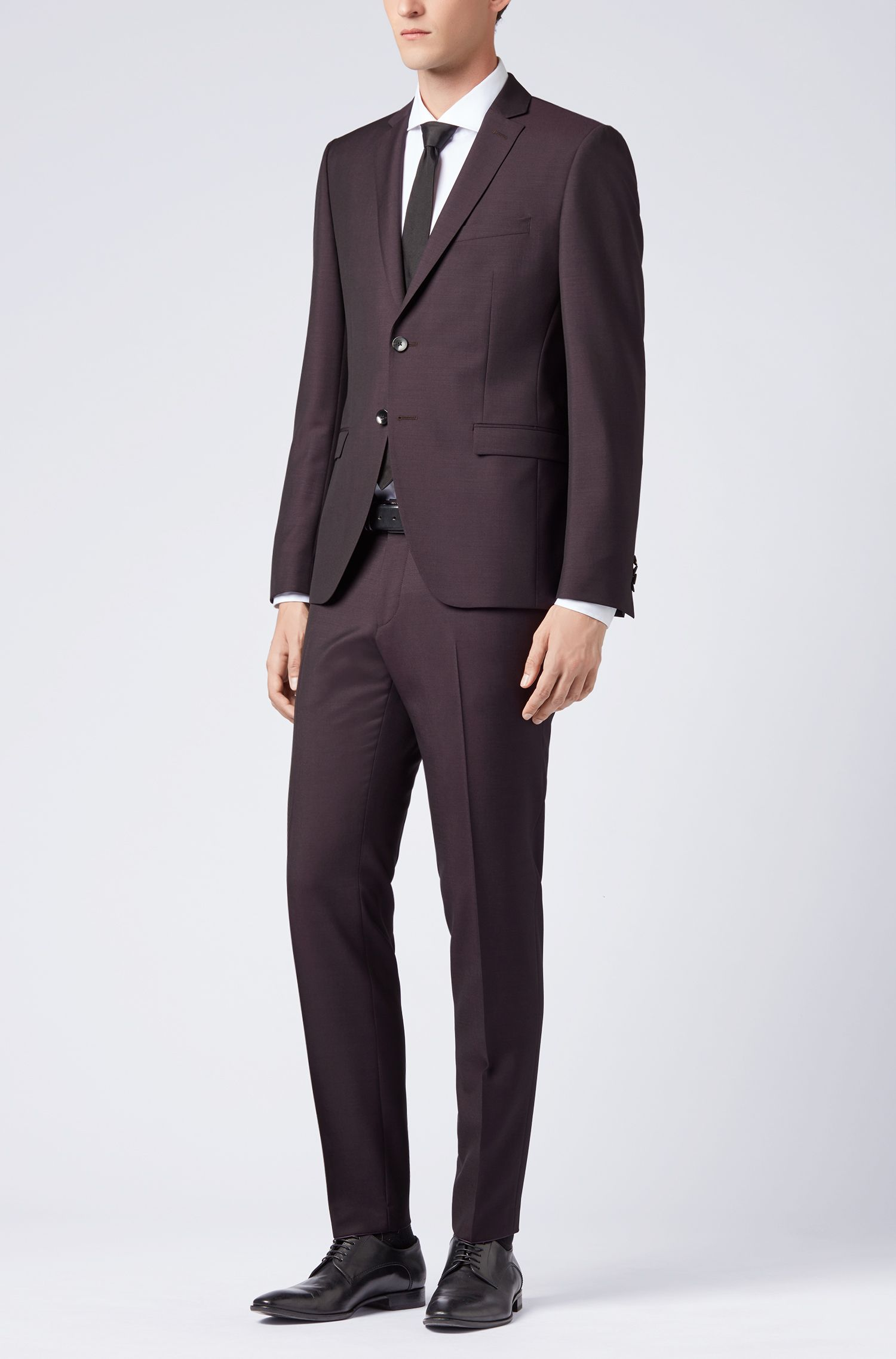 Extra-slim-fit suit in a virgin-wool blend, Dark Purple