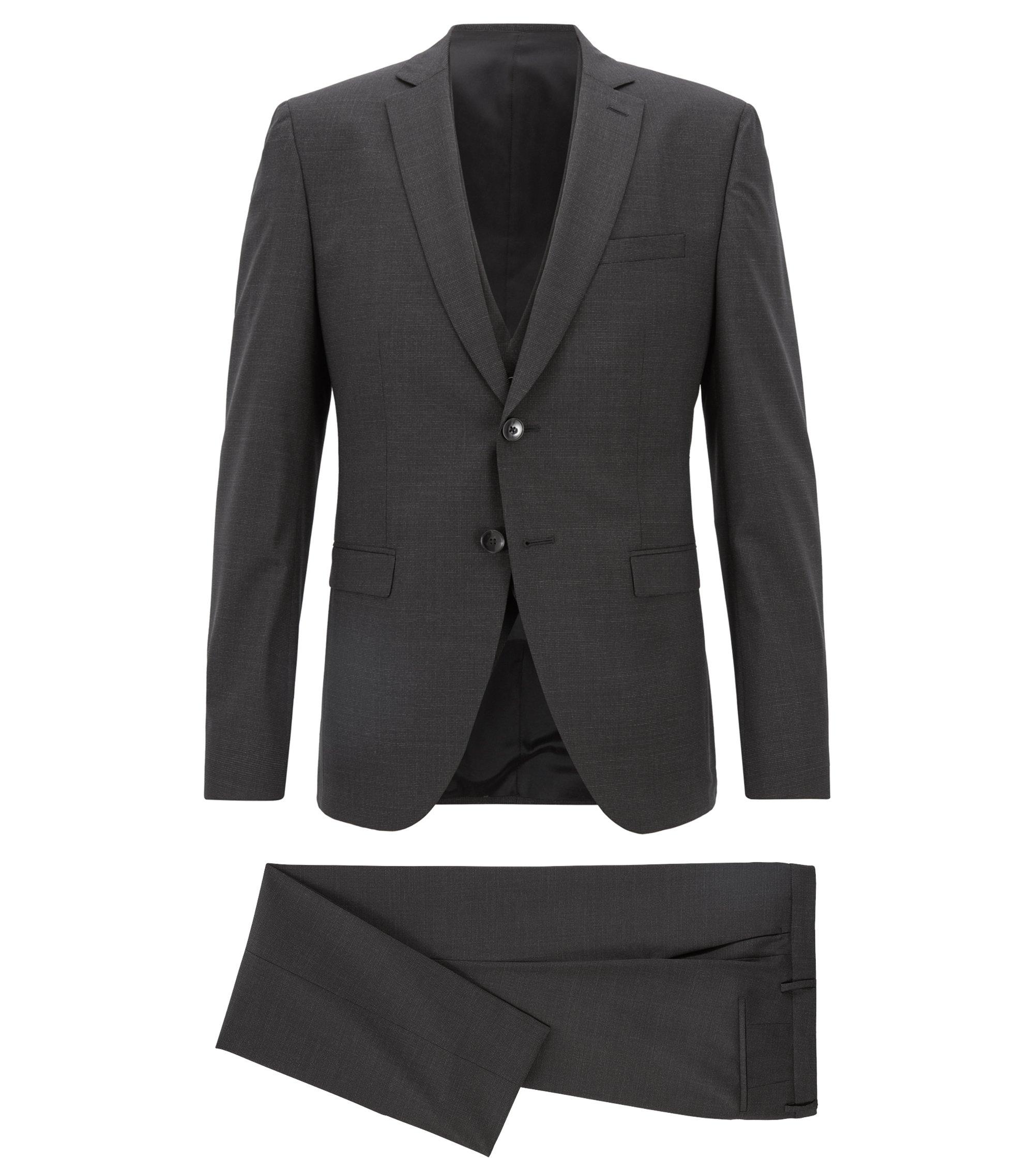 Extra-slim-fit three-piece suit in virgin wool, Black