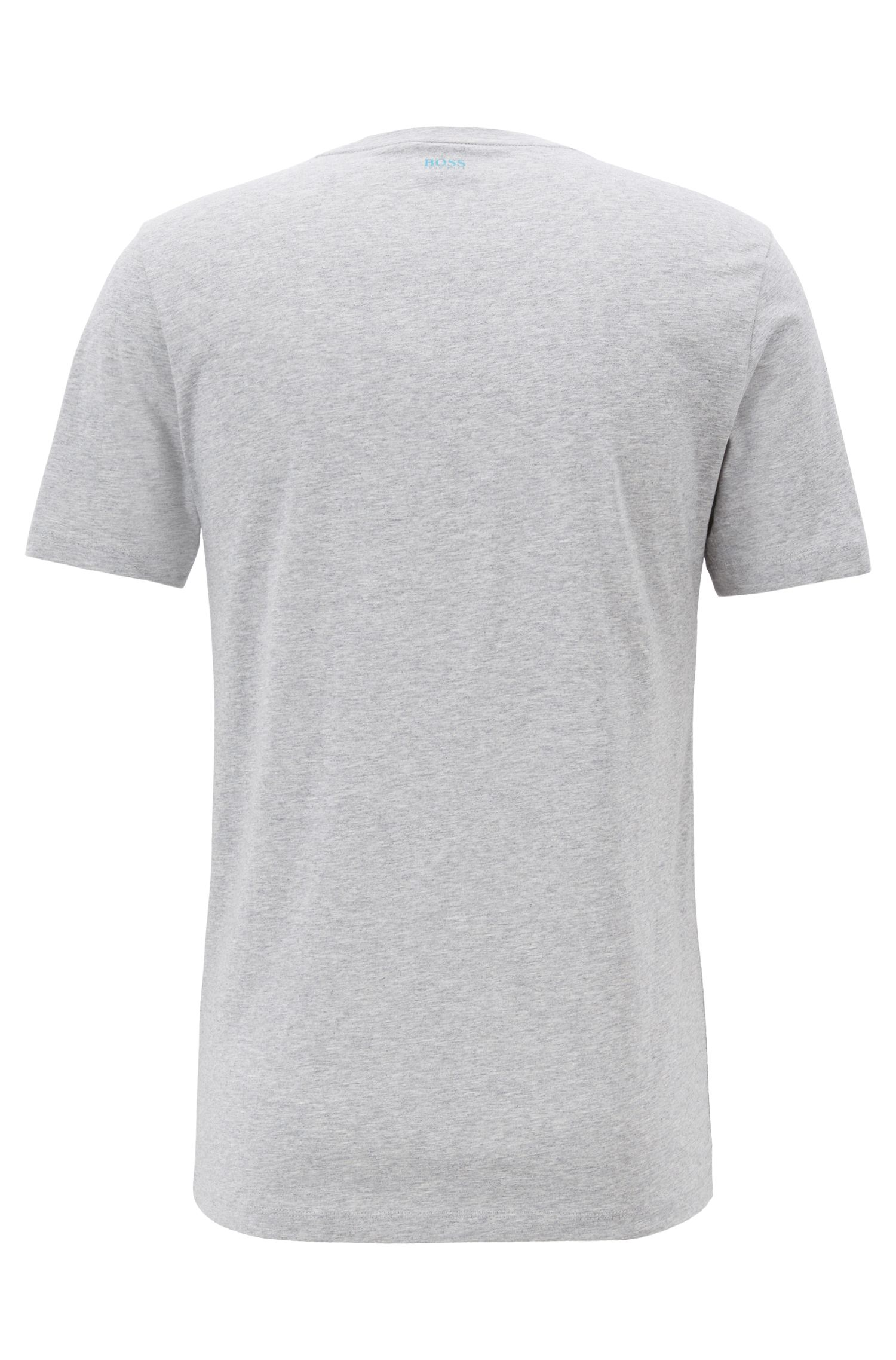 Crew-neck cotton T-shirt with photographic print, Grey