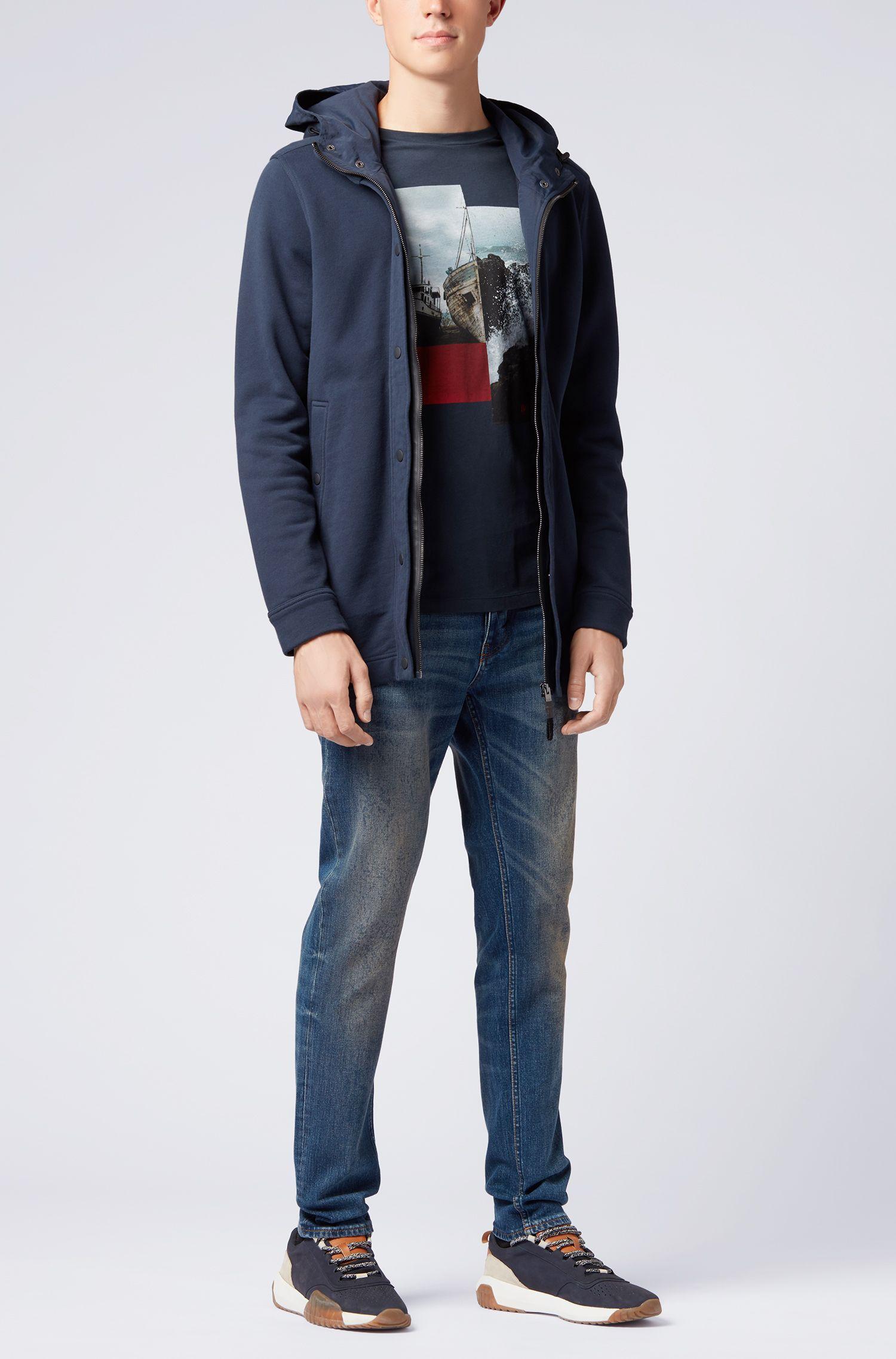 Crew-neck cotton T-shirt with photographic print, Dark Blue