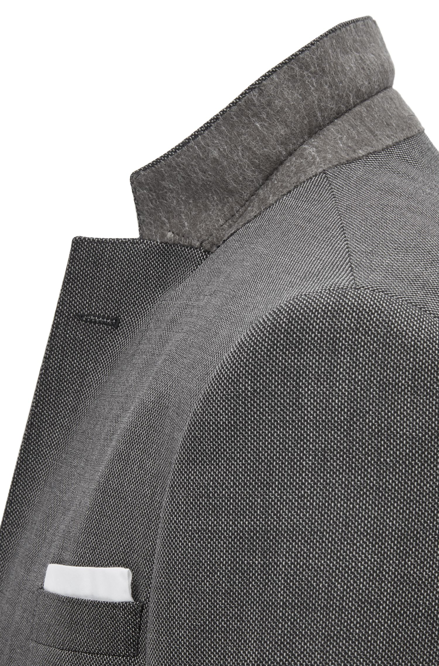 Slim-fit suit in patterned virgin wool, Black