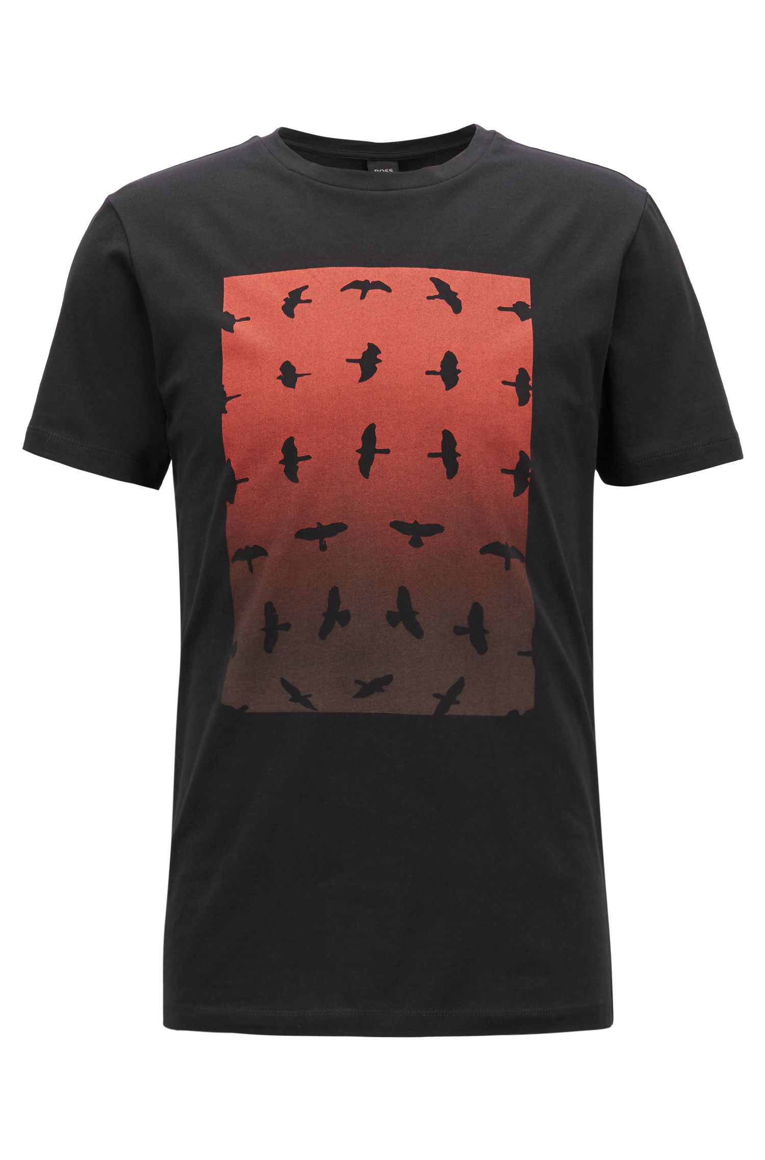 Crew-neck T-shirt with water-based graphic print, Black