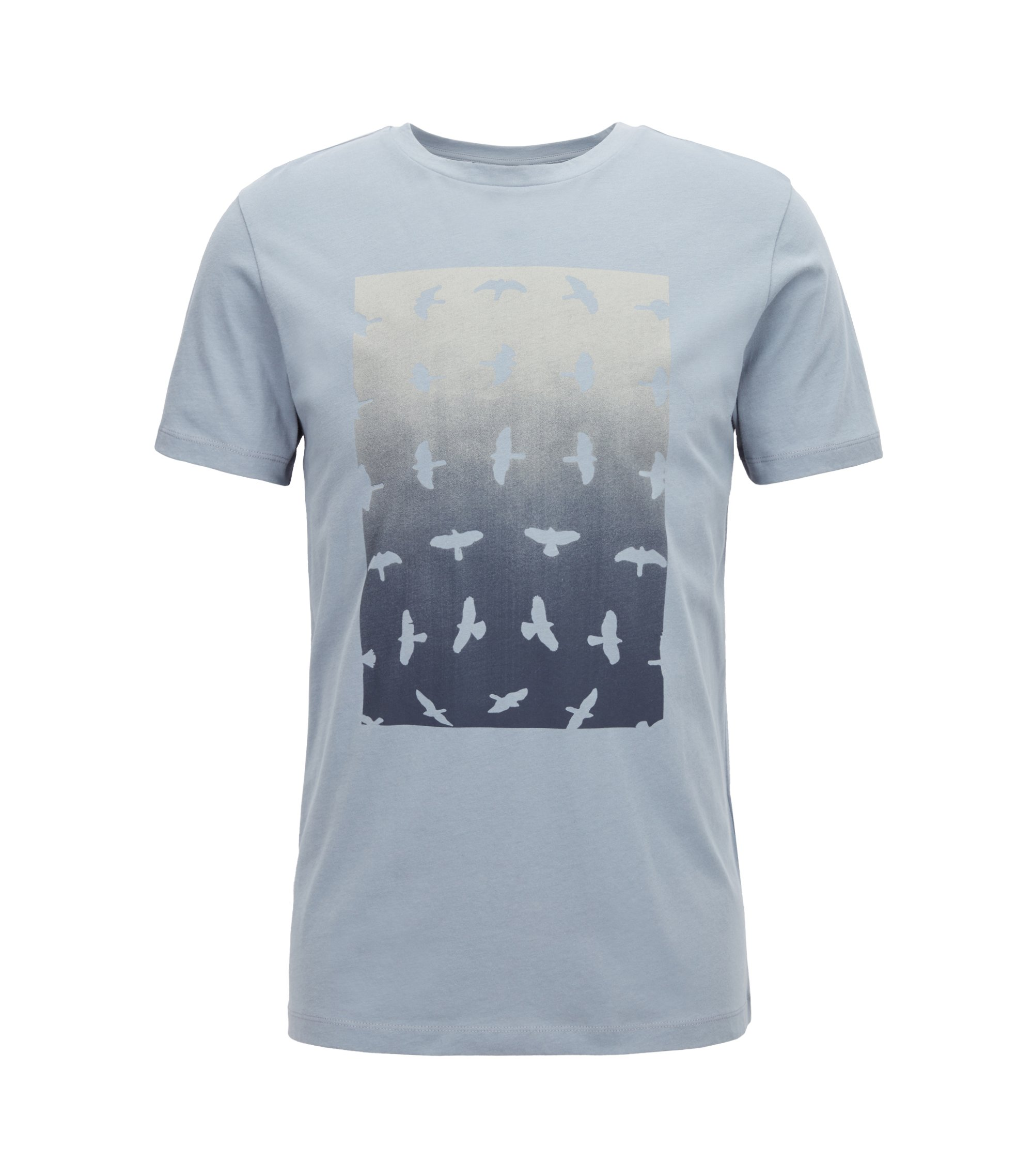 Crew-neck T-shirt with water-based graphic print, Open Blue