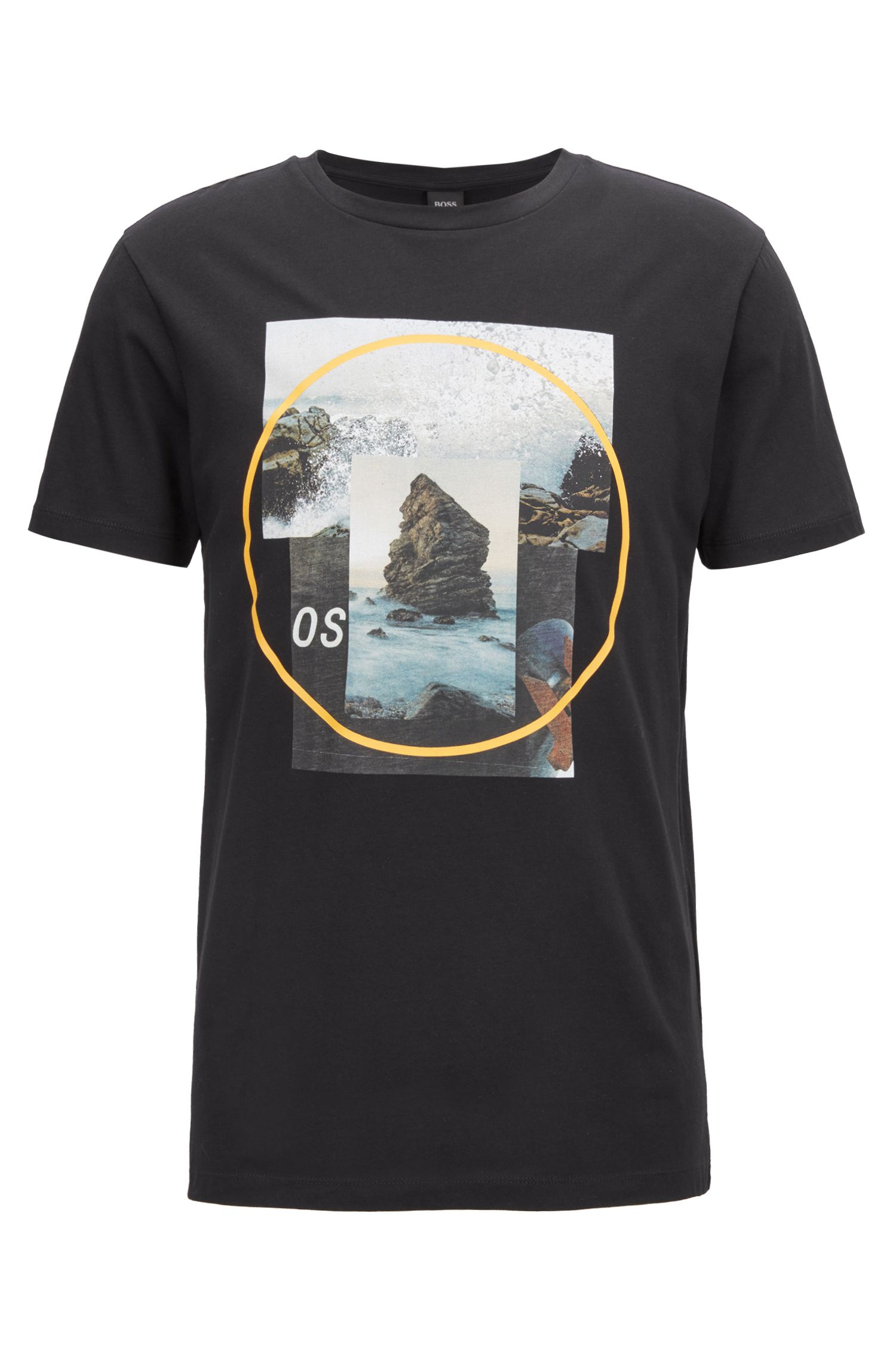 Crew-neck T-shirt with photographic and gel print, Black
