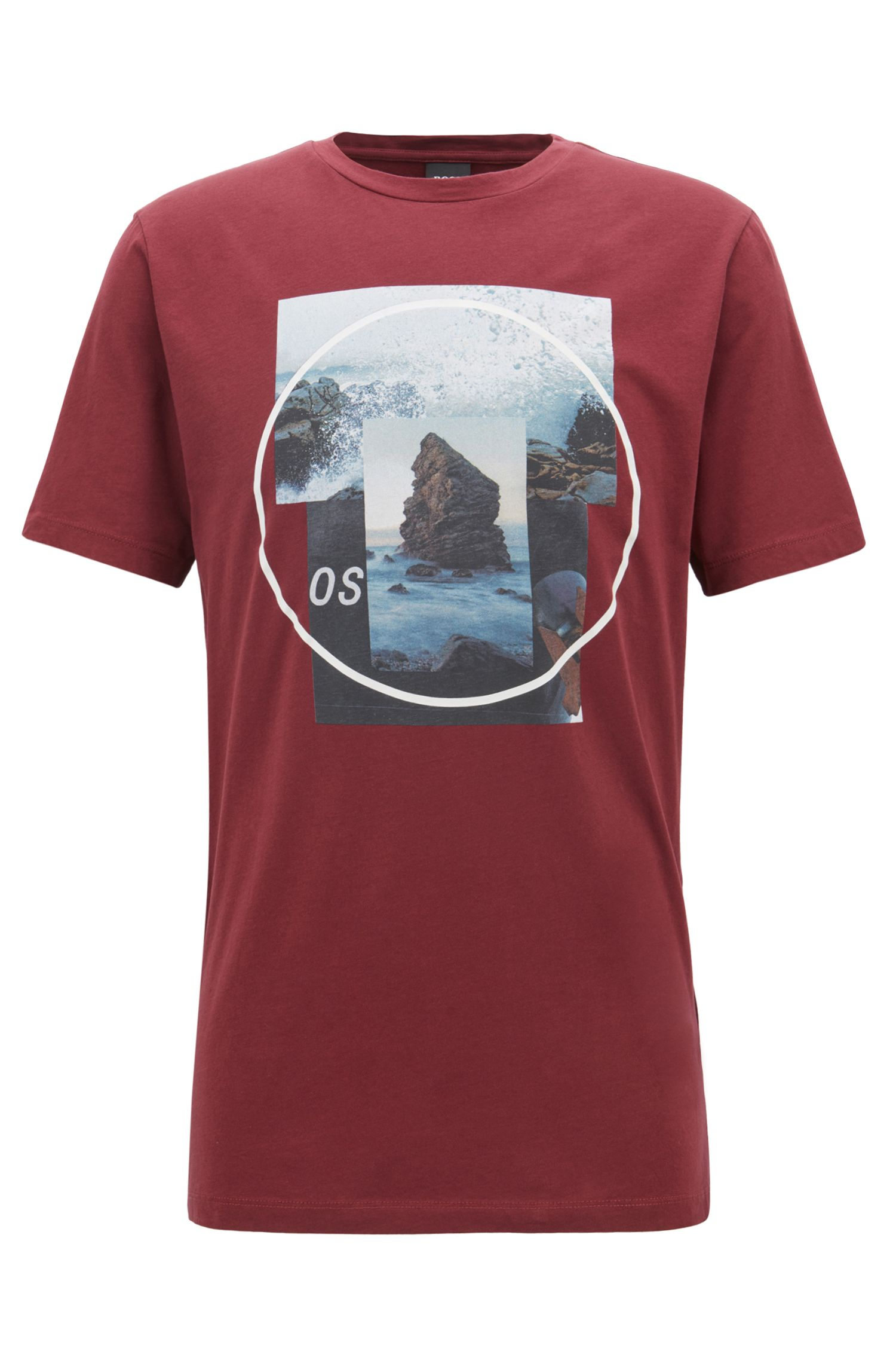 Crew-neck T-shirt with photographic and gel print, Open Red